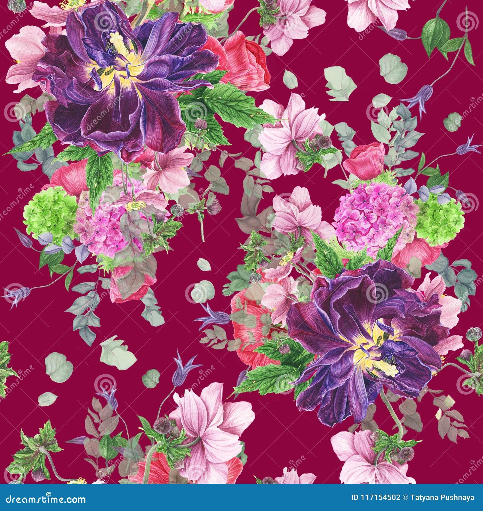Modèle floral sans couture avec des tulipes, des anémones, l hortensia, l eucalyptus et des feuilles, peinture d aquarelle