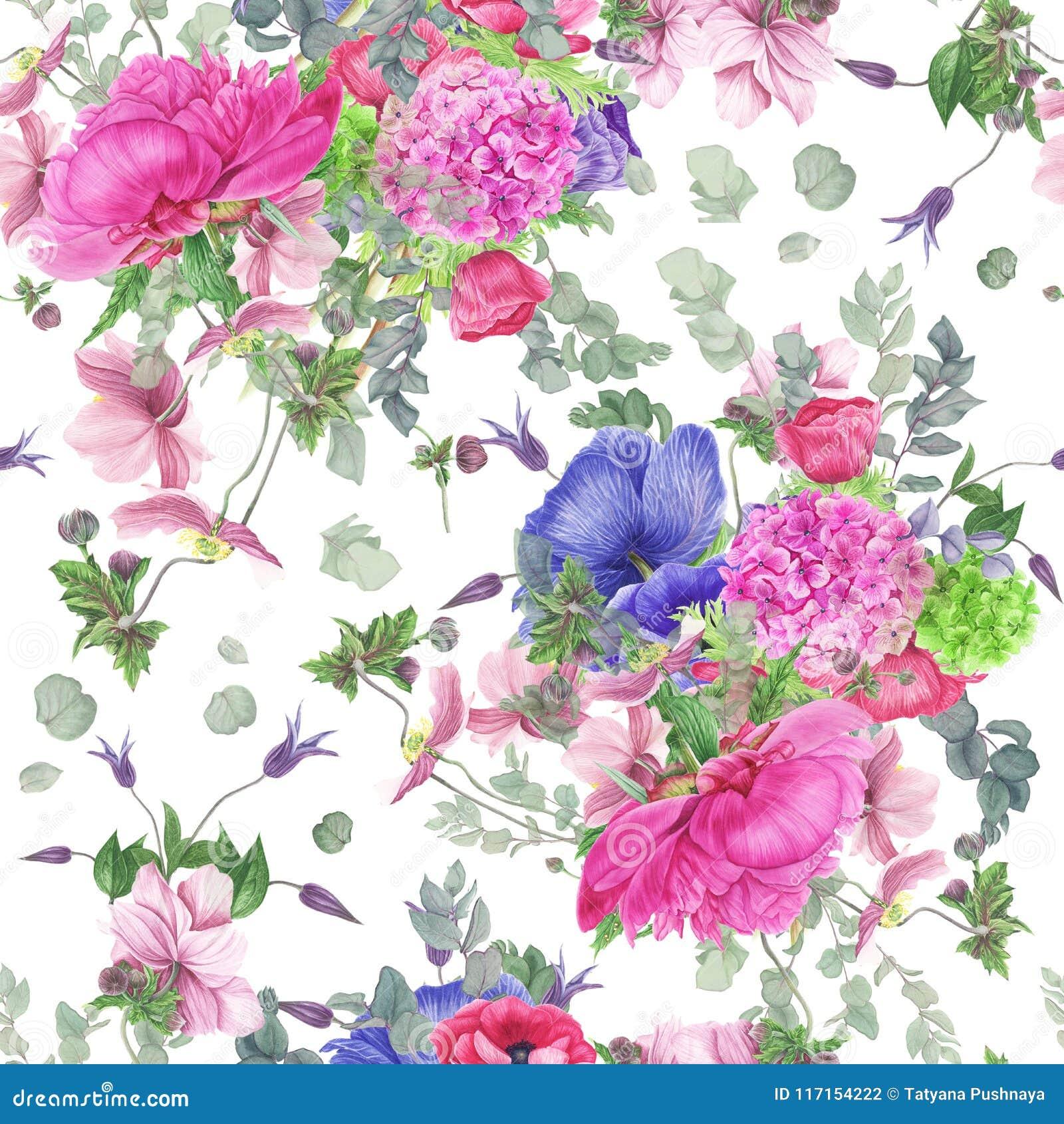 Modèle floral sans couture avec la pivoine, les anémones, l hortensia, l eucalyptus et les feuilles, peinture d aquarelle