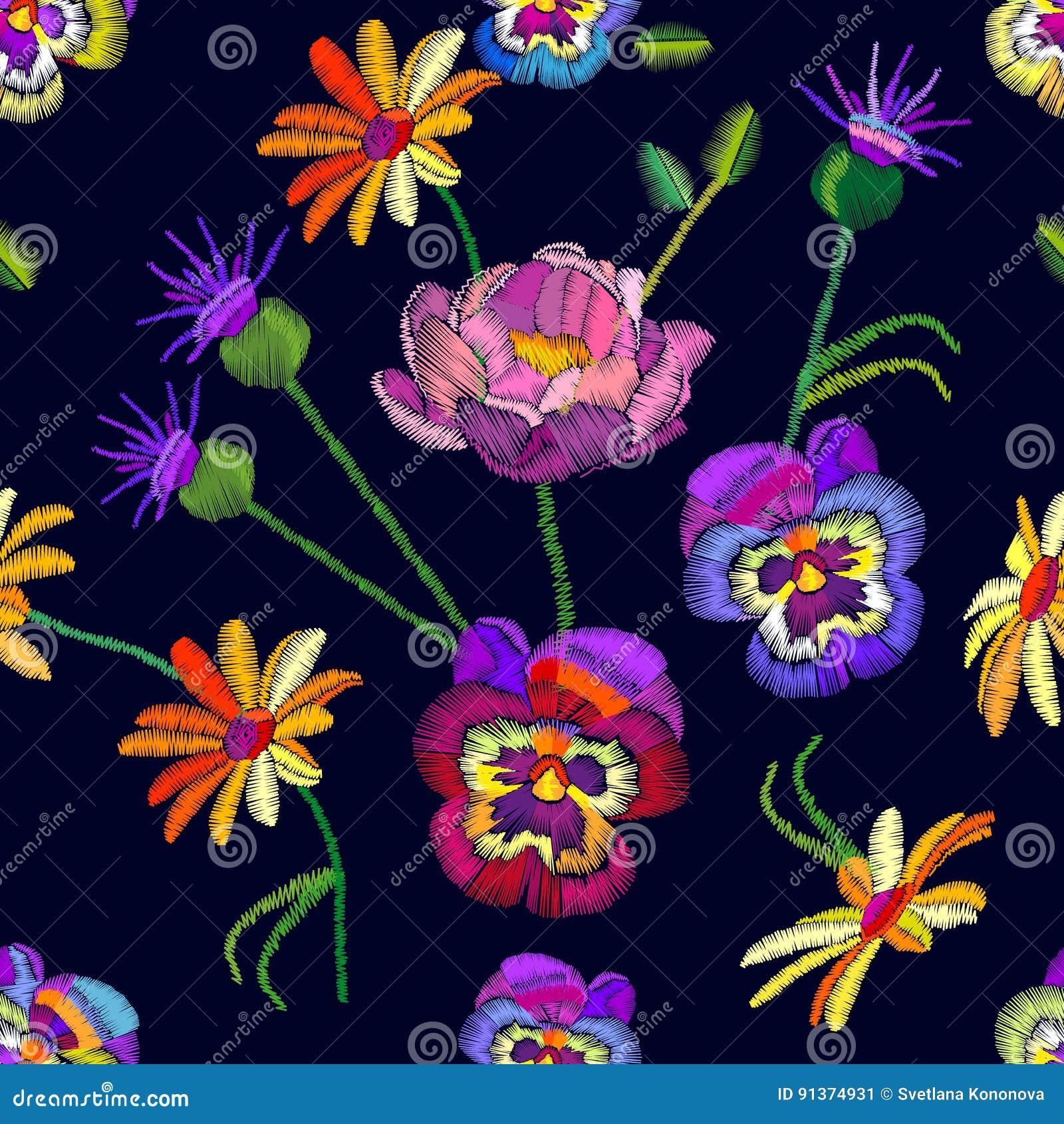 Modèle floral sans couture avec les pensées et les camomilles brodées