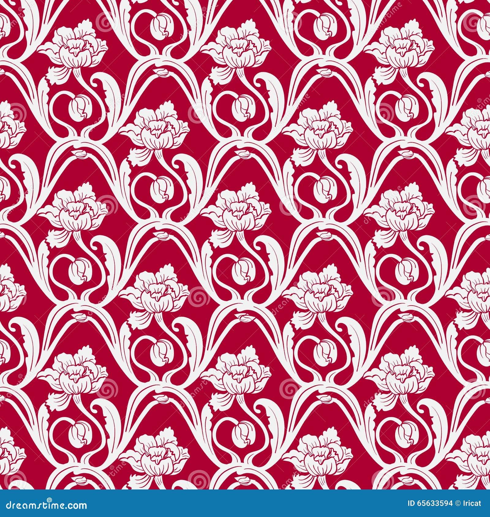 Modèle floral sans couture dans le style oriental de la peinture Fleurs entrelacées par lumière sur un fond rouge