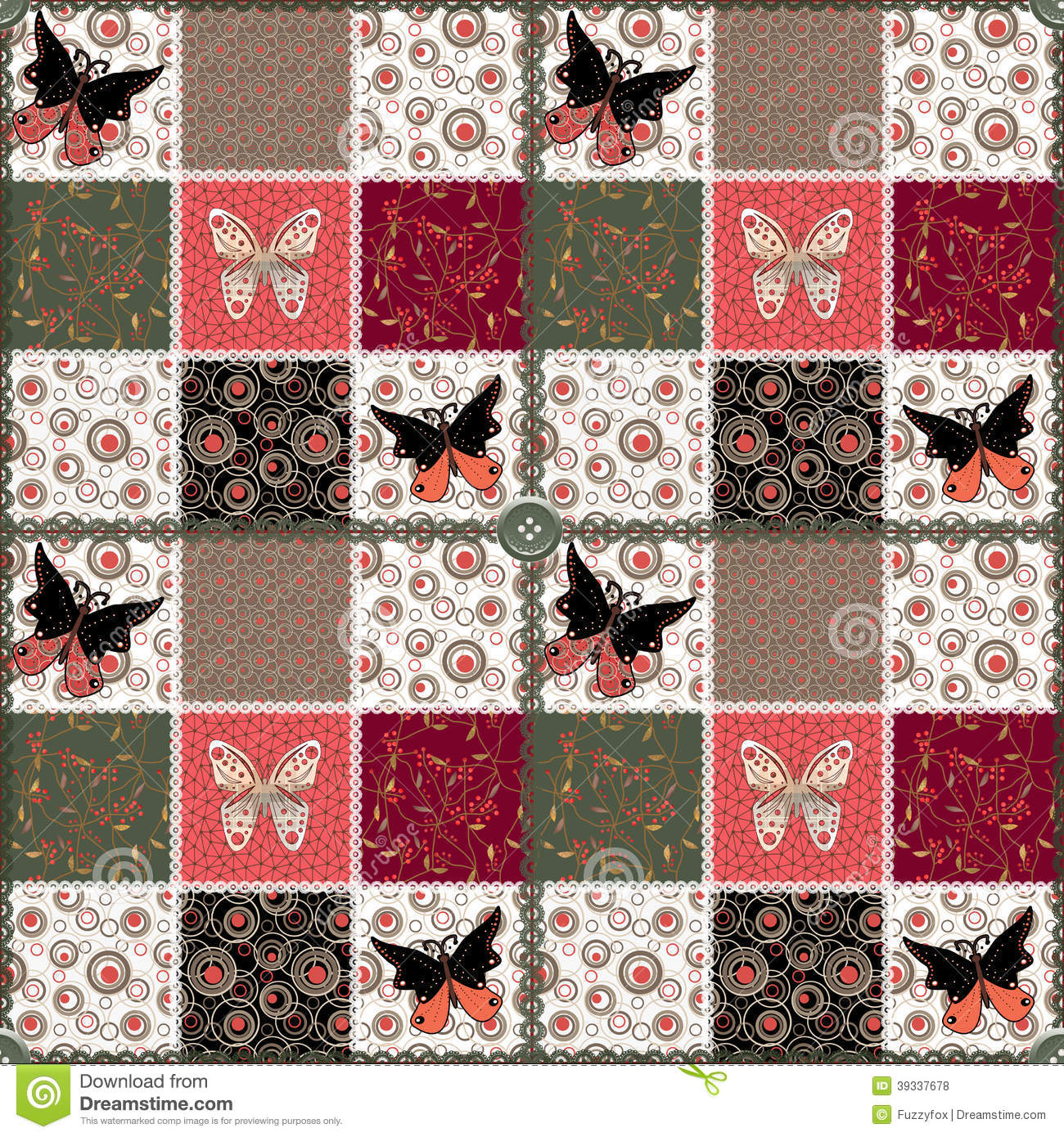 mod le floral sans couture de patchwork avec des papillons illustration stock image 39337678. Black Bedroom Furniture Sets. Home Design Ideas