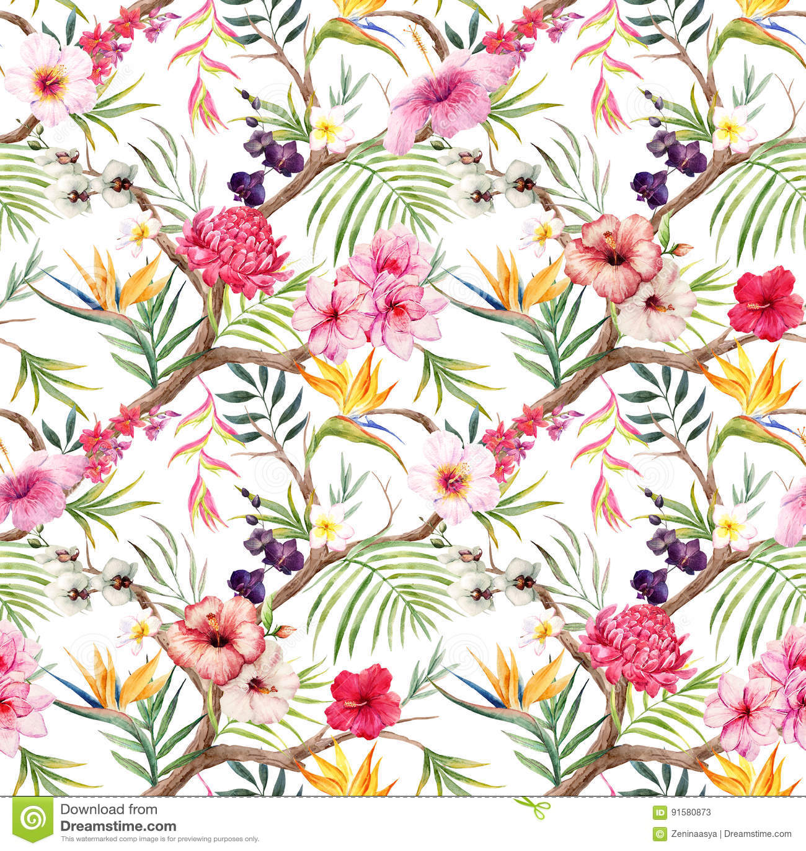 Modèle floral tropical d aquarelle