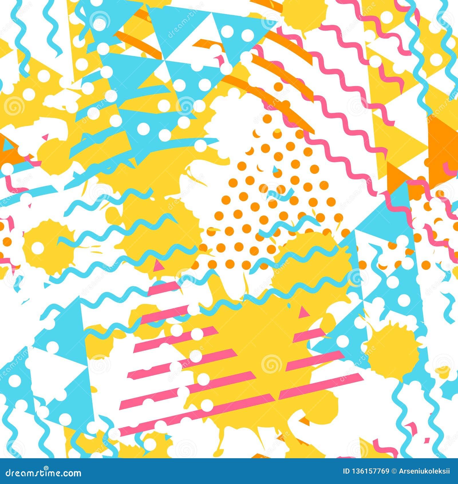 Modèle géométrique abstrait avec des formes de triangle et la texture grunge de tache