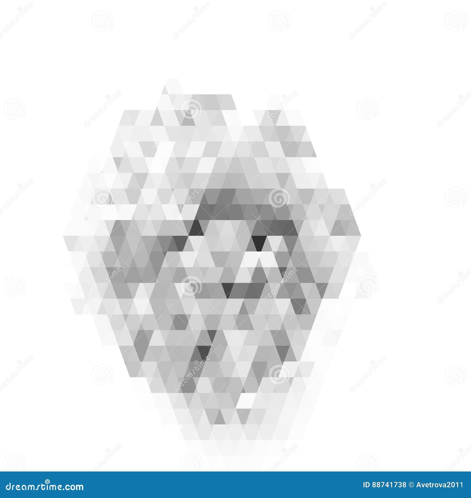 Modèle géométrique abstrait sur le fond blanc Modèle gris de verre coloré