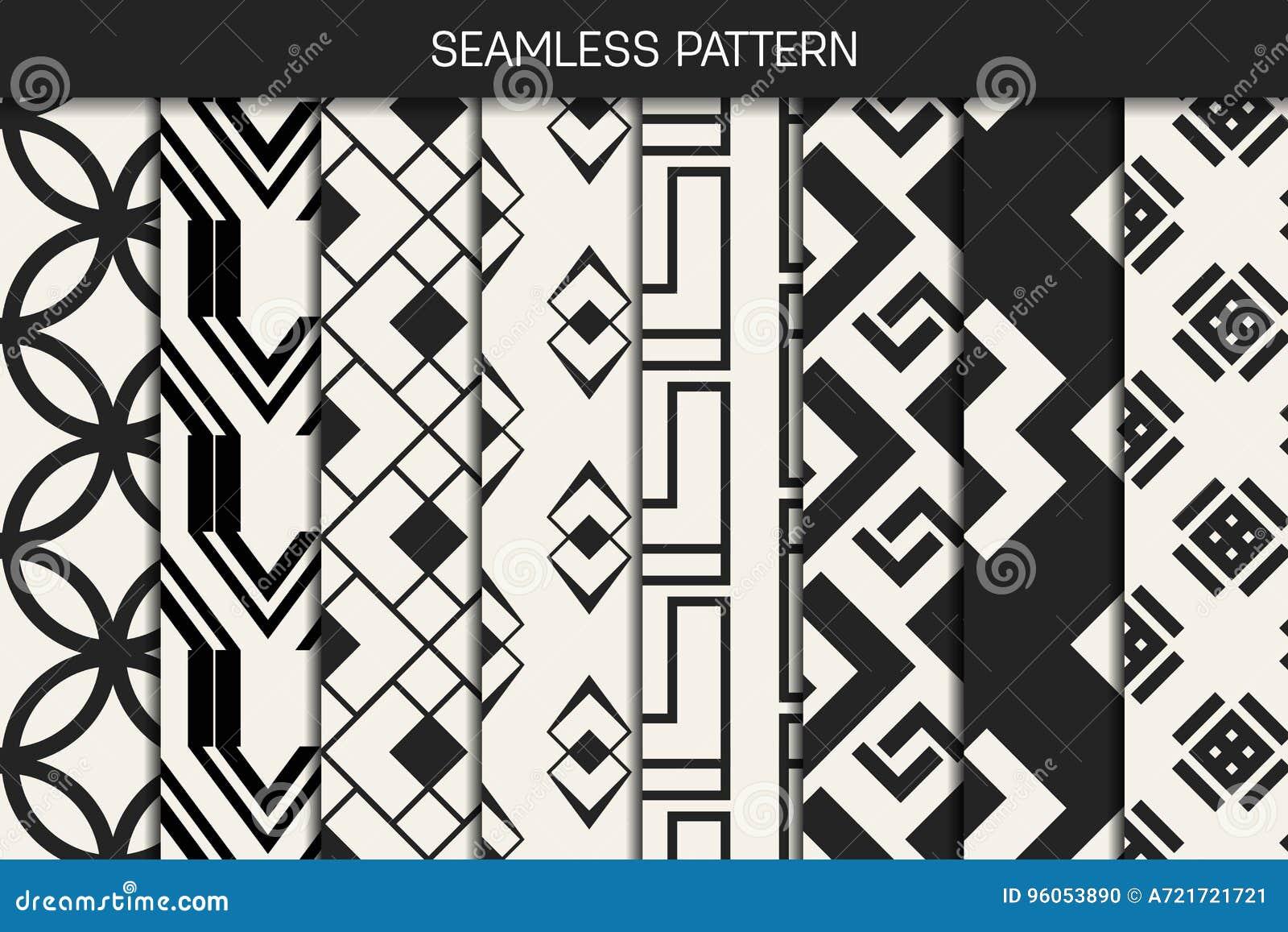Modèle géométrique monochrome de concept abstrait Fond minimal noir et blanc Calibre créatif d illustration seamless
