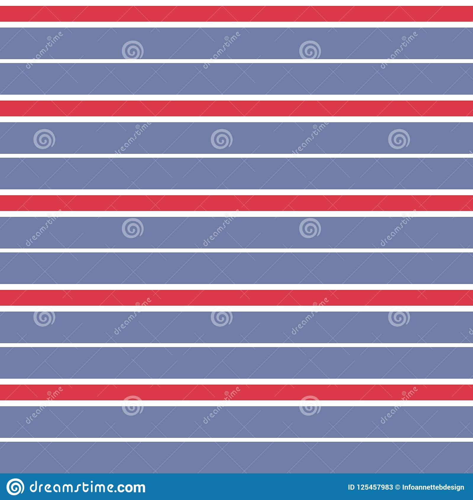 Modèle inégal de rayure de vecteur sans couture avec le fond bleu de rayures rouges, blanc, et fané parallèle horizontal coloré