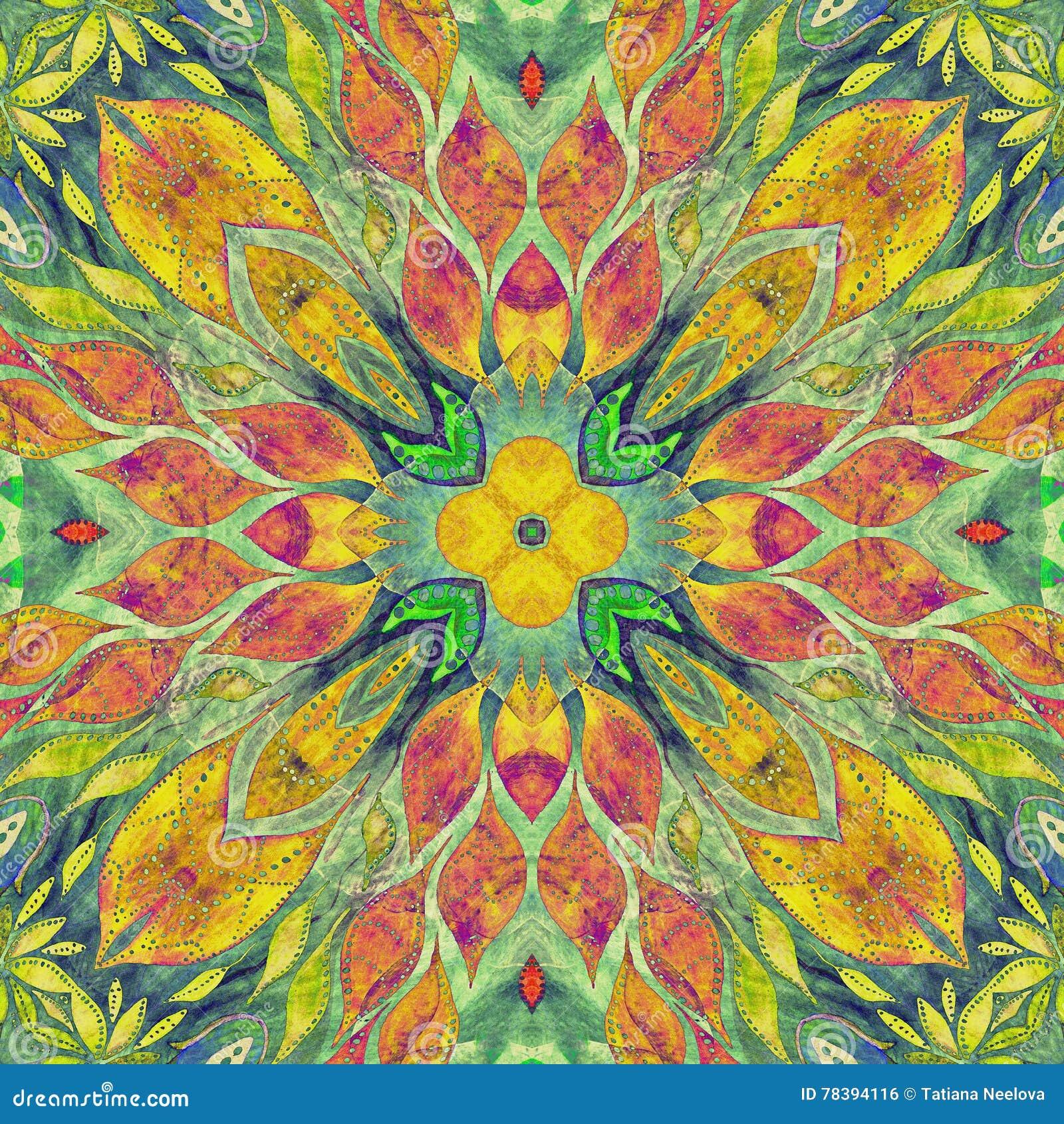 Modèle indien moral coloré sans couture lumineux Le collage avec l aquarelle fabriquée à la main éponge, des pétales, fleurs de f