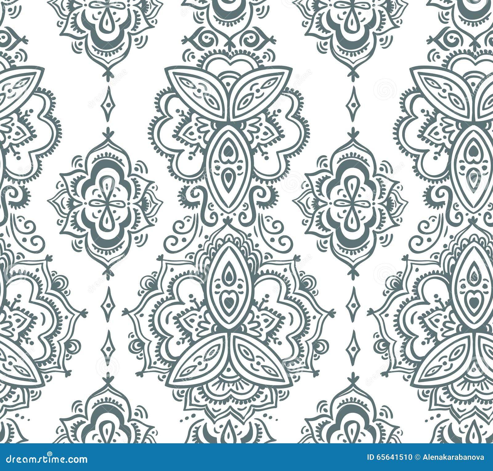 Modèle indien sans couture basé sur les éléments floraux asiatiques traditionnels Paisley