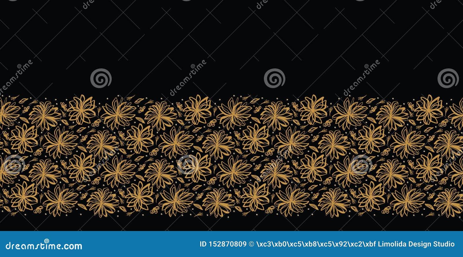 Modèle jeté en l air floral tiré par la main de frontière Fond sans joint de vecteur Illustration stylisée de tige de fleur d enc