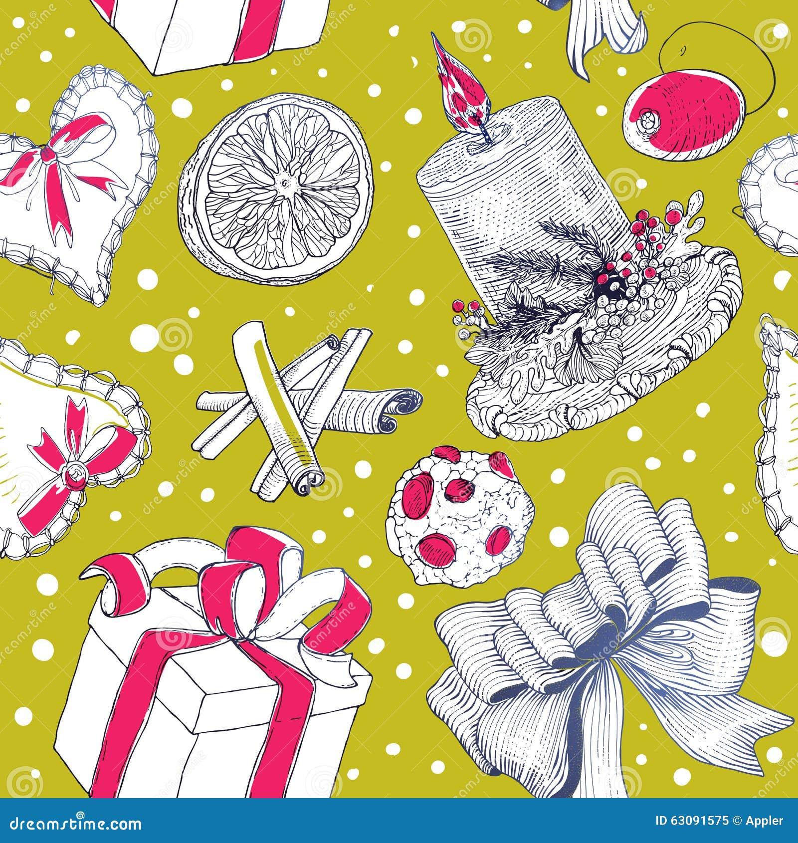 Download Modèle Lumineux De Noël Avec Des Dessins De Gravure Illustration de Vecteur - Illustration du café, dessiné: 63091575