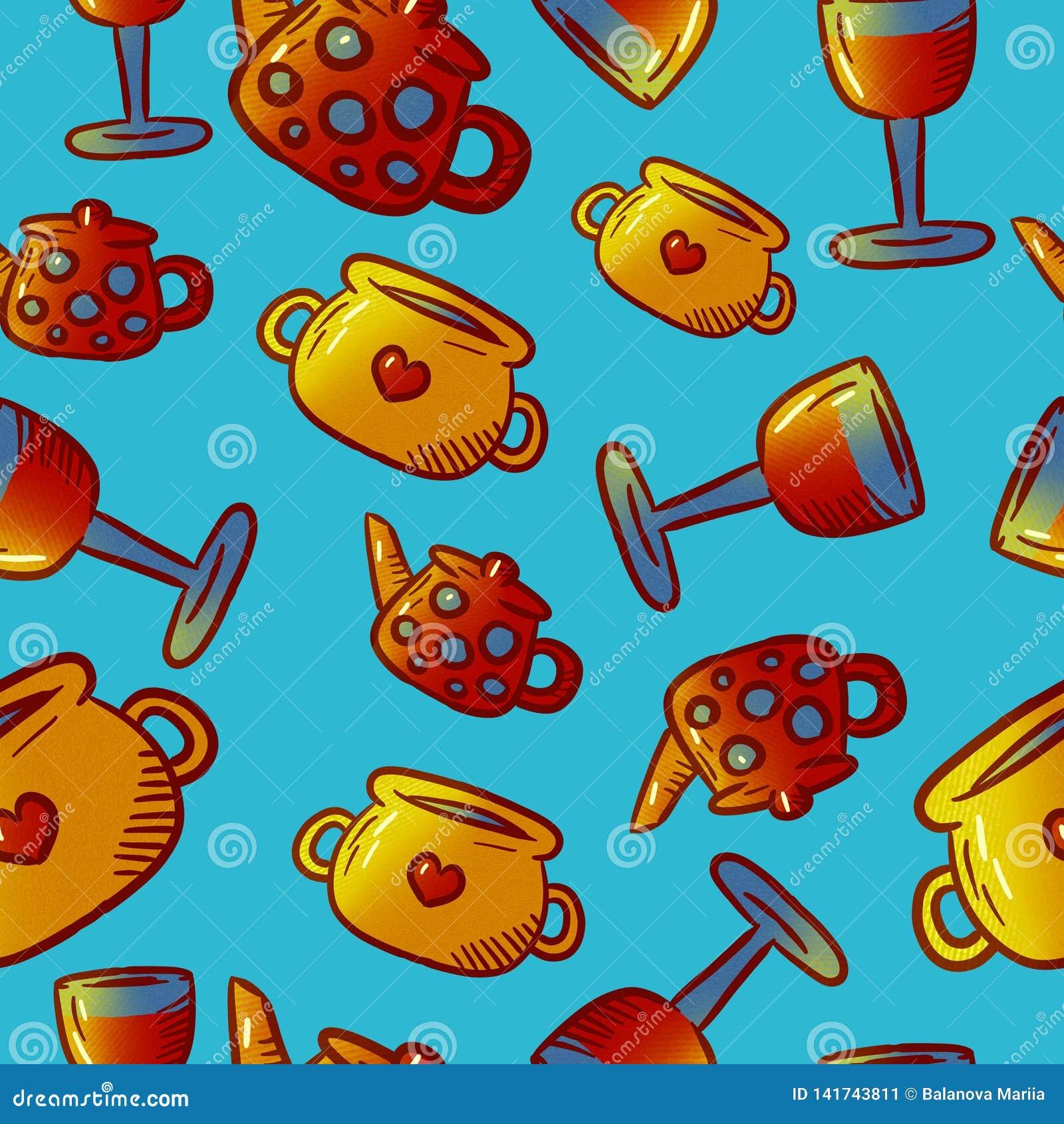 Modèle mignon des illustrations de vaisselle de cuisine et d ustensiles Éléments pour le desi