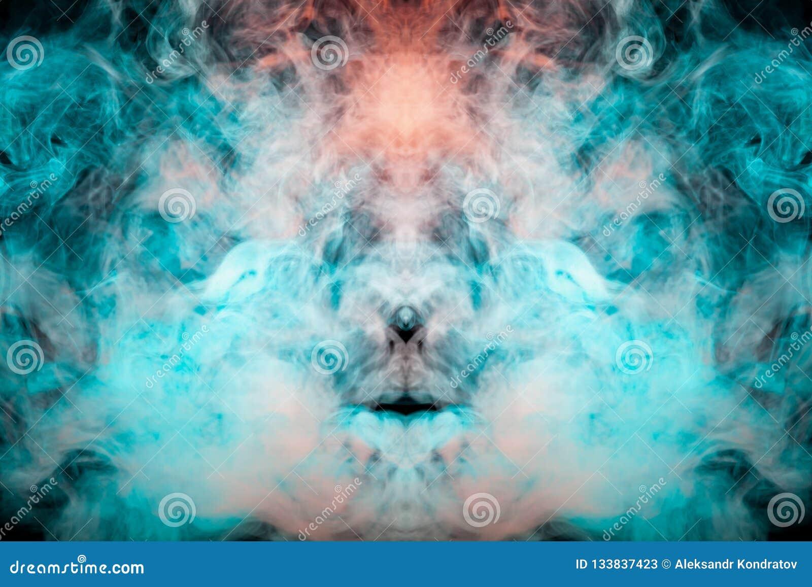 Bleu Et Vert Quel Couleur modèle mystique de crâne dans une fumée de tourbillonnement