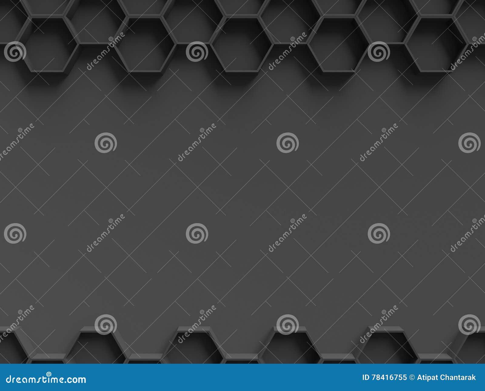 Modèle noir d hexagone avec le calibre foncé de fond pour la présentation