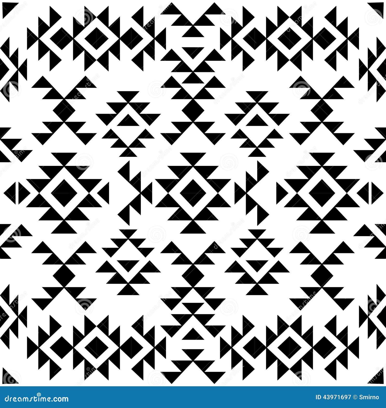 Modèle noir et blanc sans couture de Navajo, illustration de vecteur