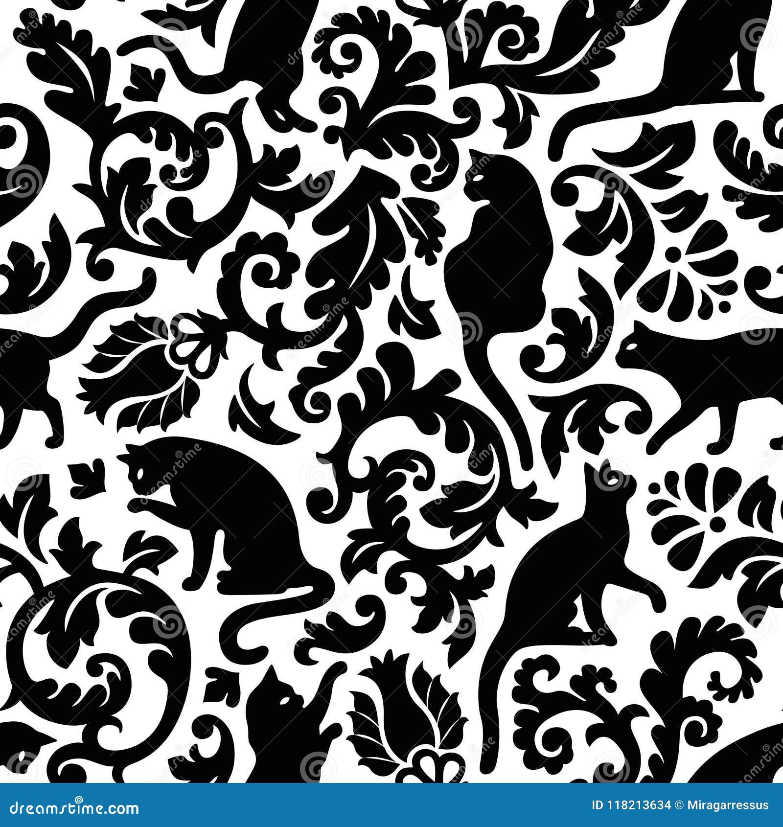 Modèle noir et blanc sans couture de vecteur de damassé de chat