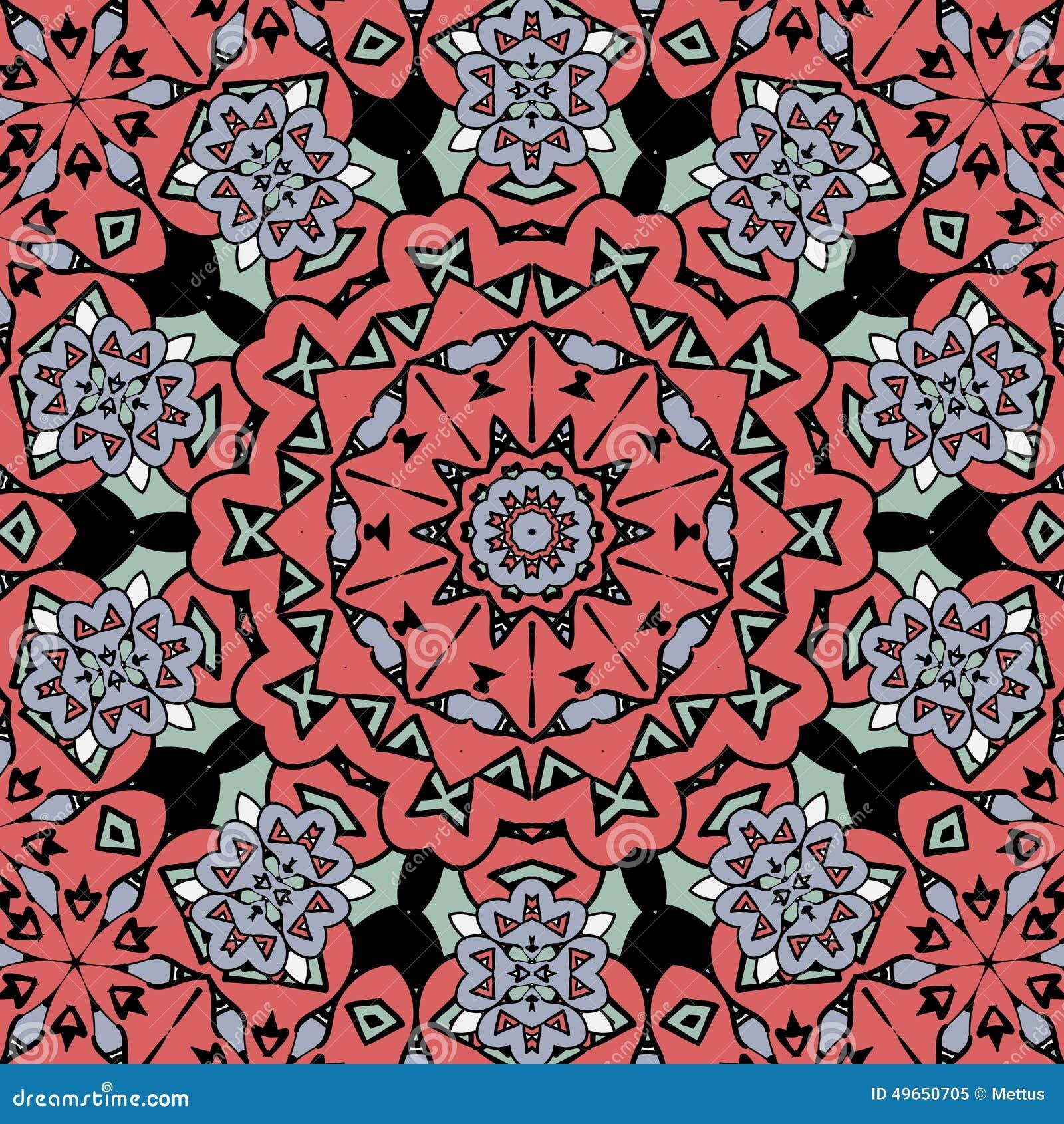 Mod le oriental floral couleur rouge de mandala sans fin - Modele de mandala ...