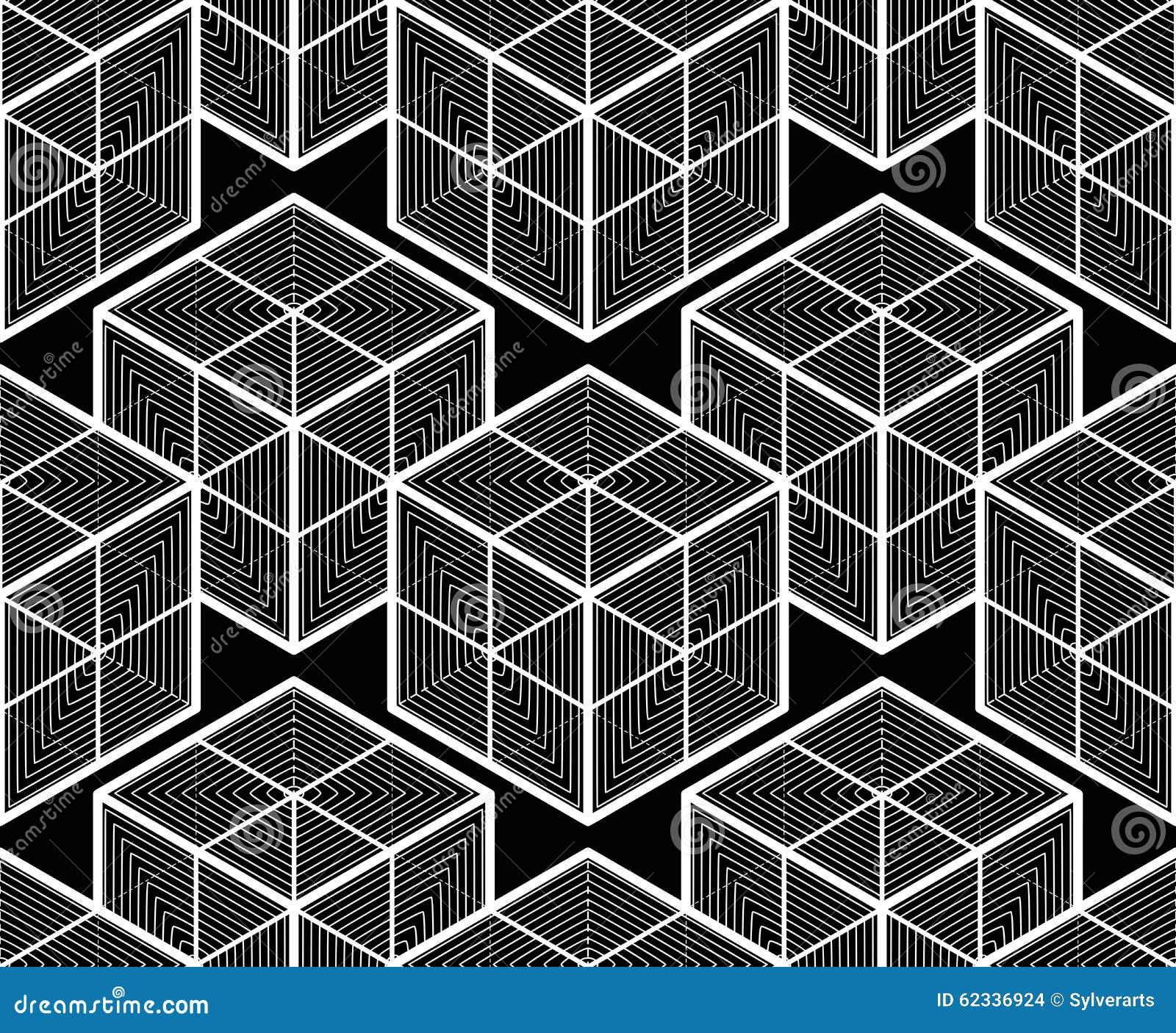 Modèle ornemental optique sans couture, géométrique tridimensionnel