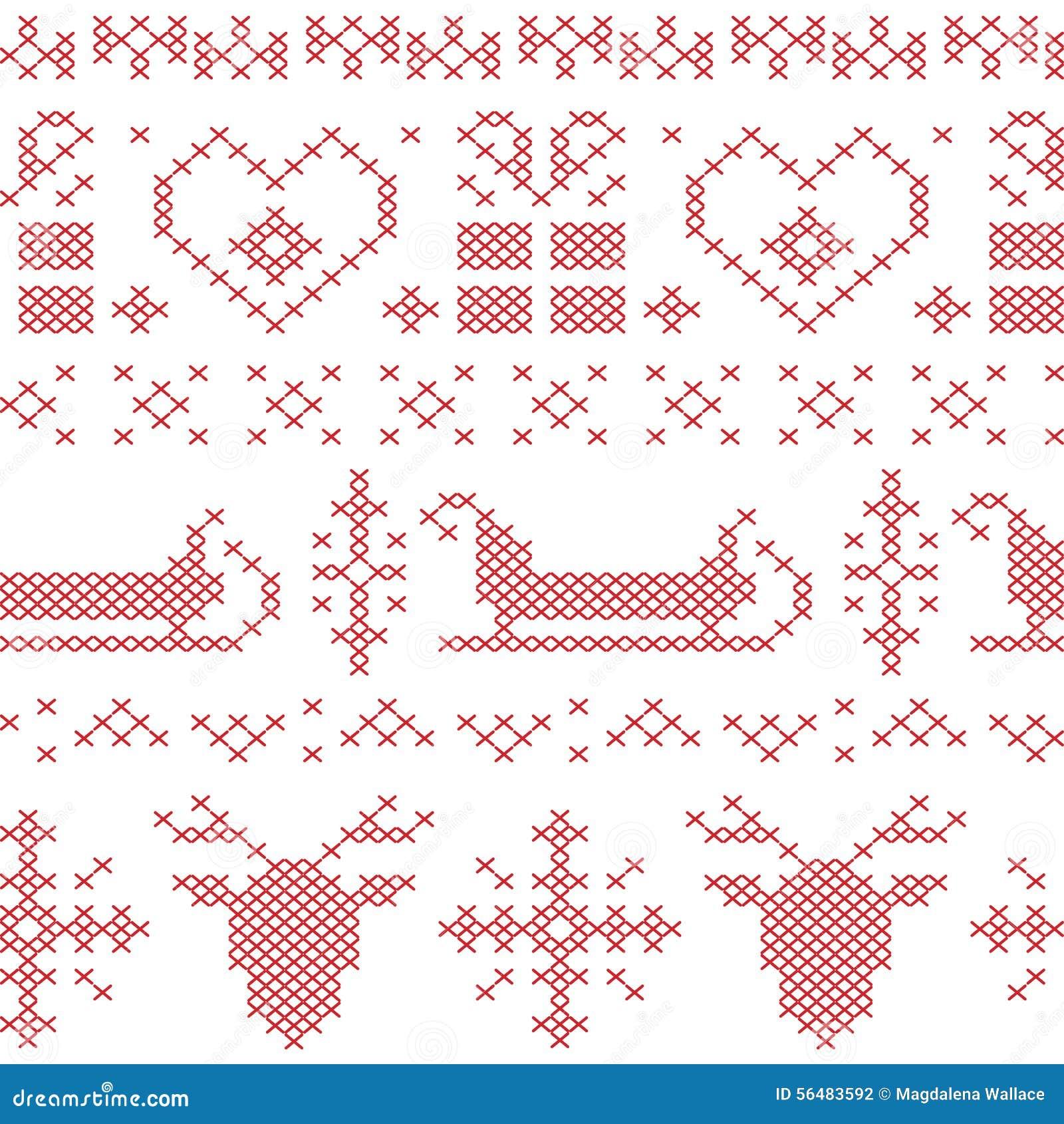 Modèle piqué sans couture nordique de Noël avec le traîneau, le renne, les flocons de neige et les étoiles de Santa