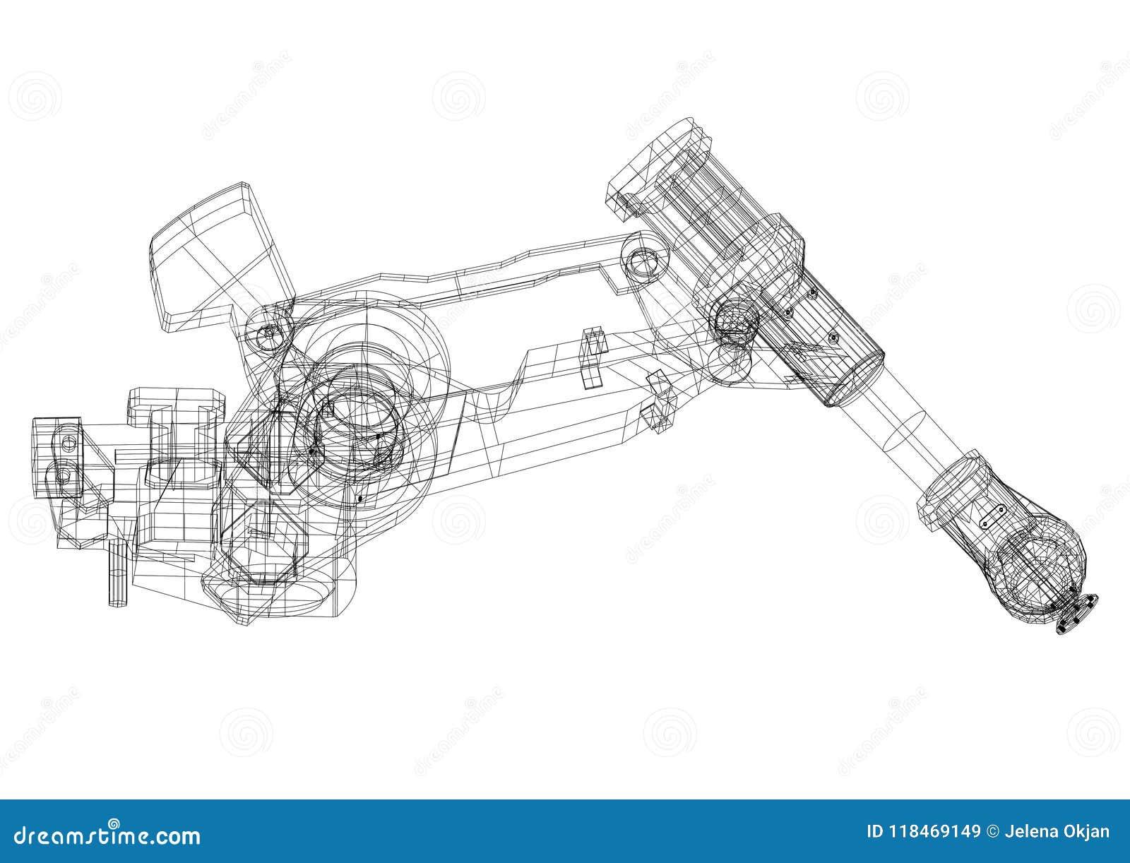 Modèle robotique d architecte de bras - d isolement