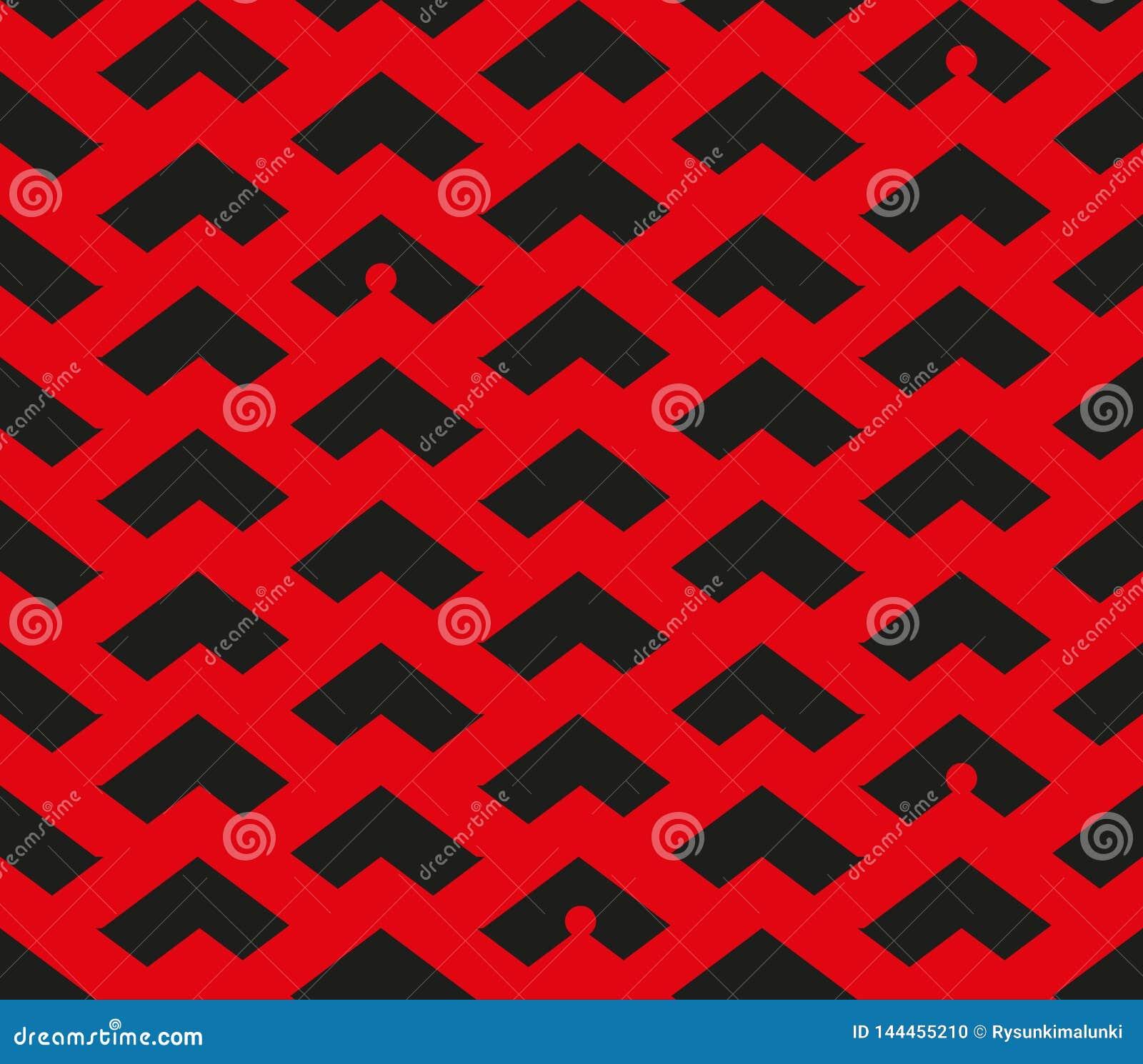 Modèle rouge et noir de chevron de résumé avec des silhouettes de lutins dans quelques endroits