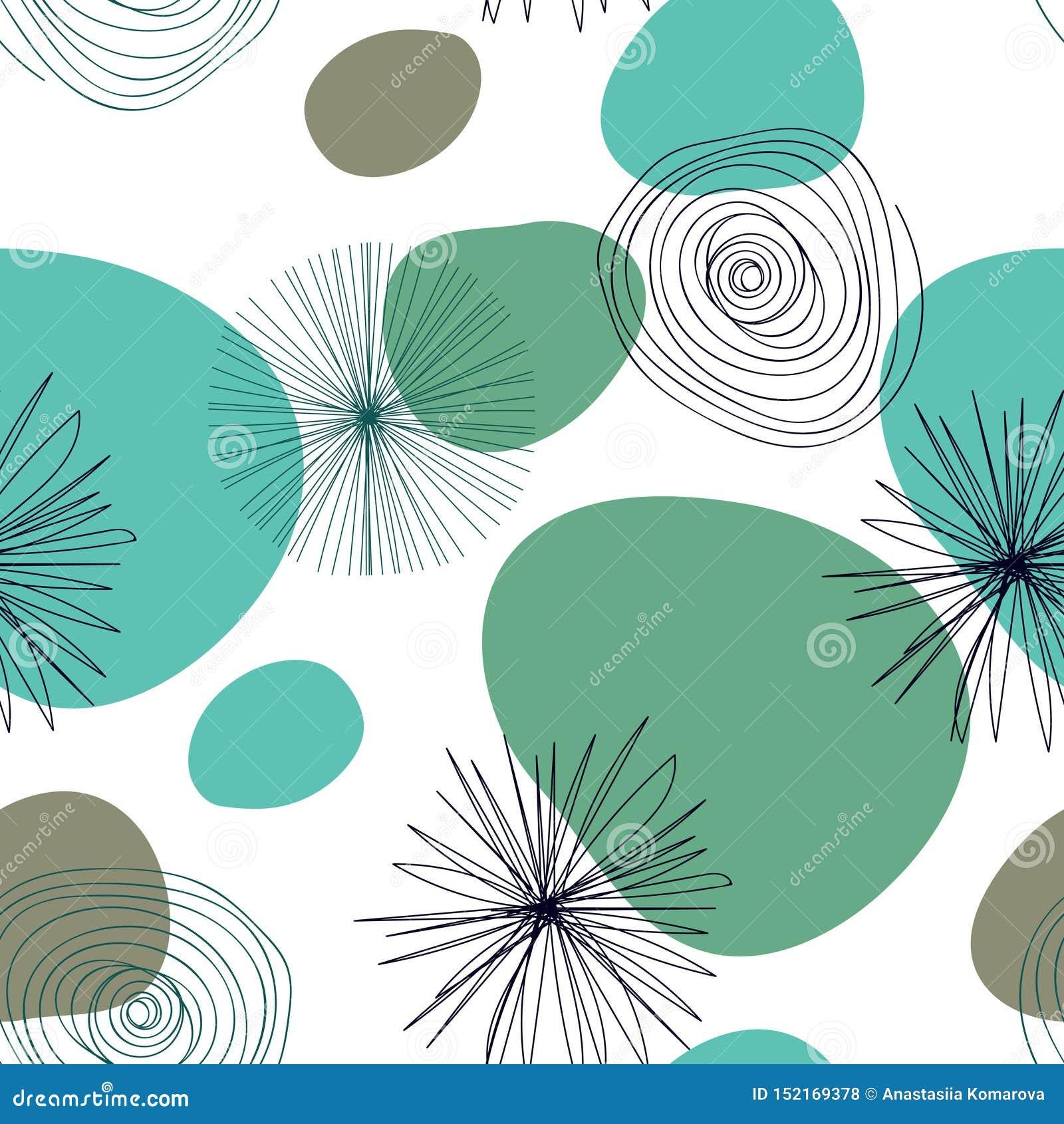 Modèle sans couture abstrait avec des éléments de graphyc - formes abstraites modernes : lignes ; spirale ; cercles