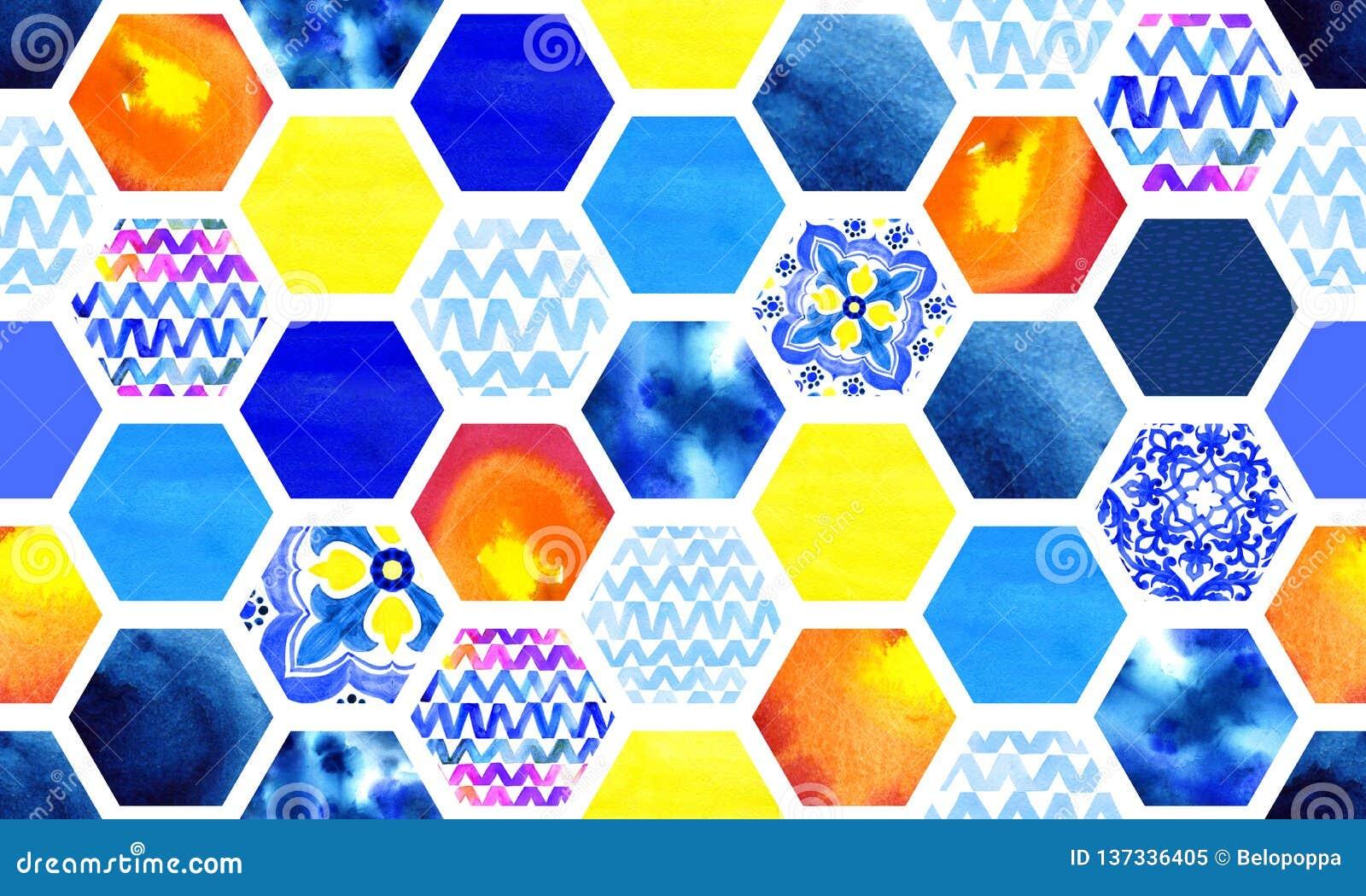 Modèle sans couture abstrait de colorant multicolore et bleu d aquarelle