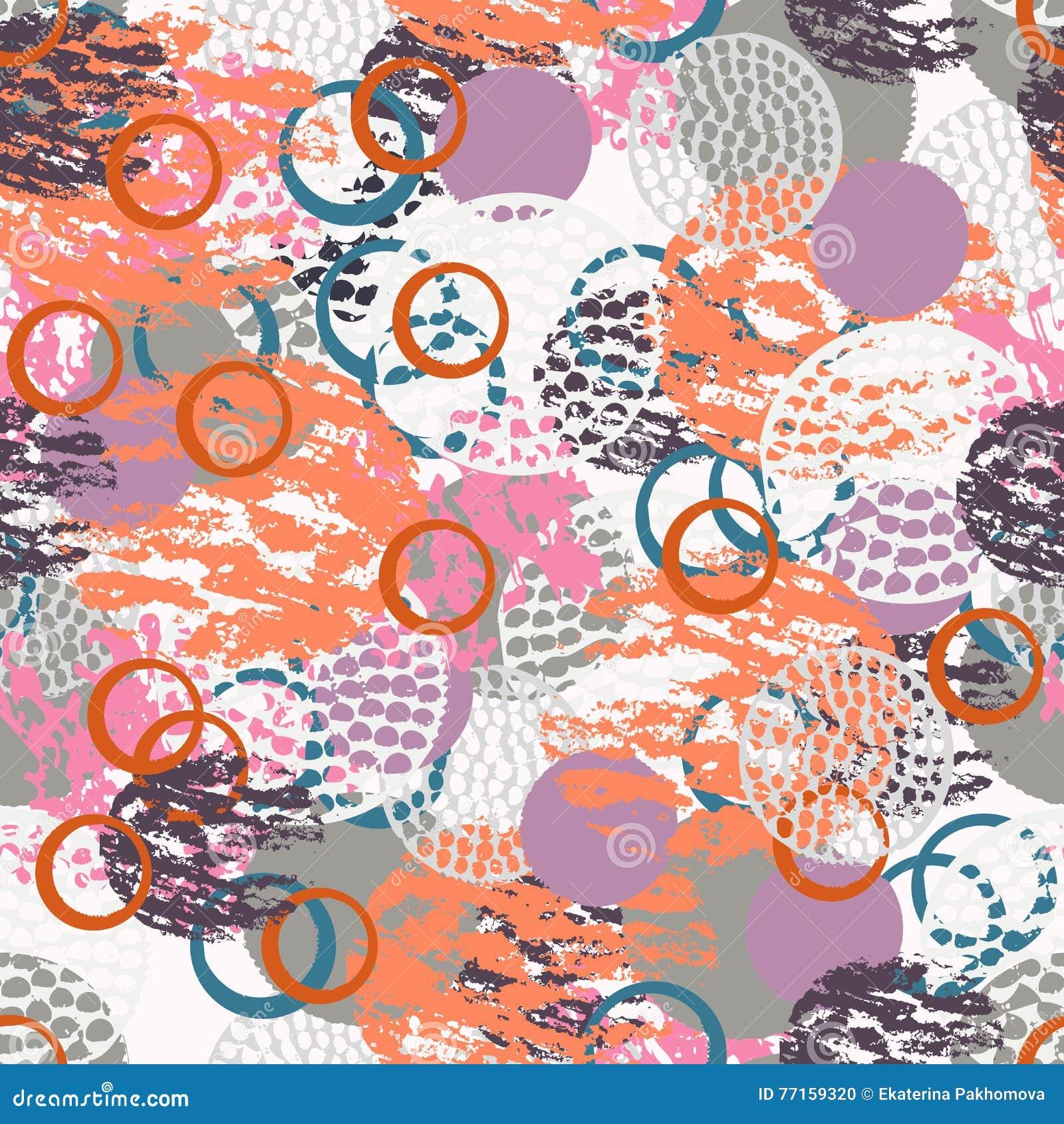 Modèle sans couture abstrait grunge coloré avec différentes formes rondes minables