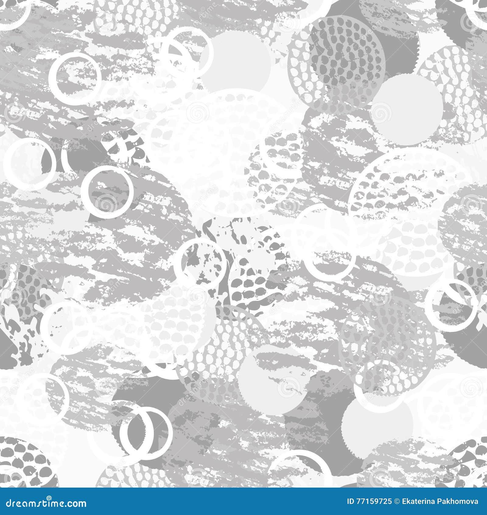 Modèle sans couture abstrait grunge noir, gris et blanc avec des cercles, des anneaux, de différentes courses de brosse et des fo