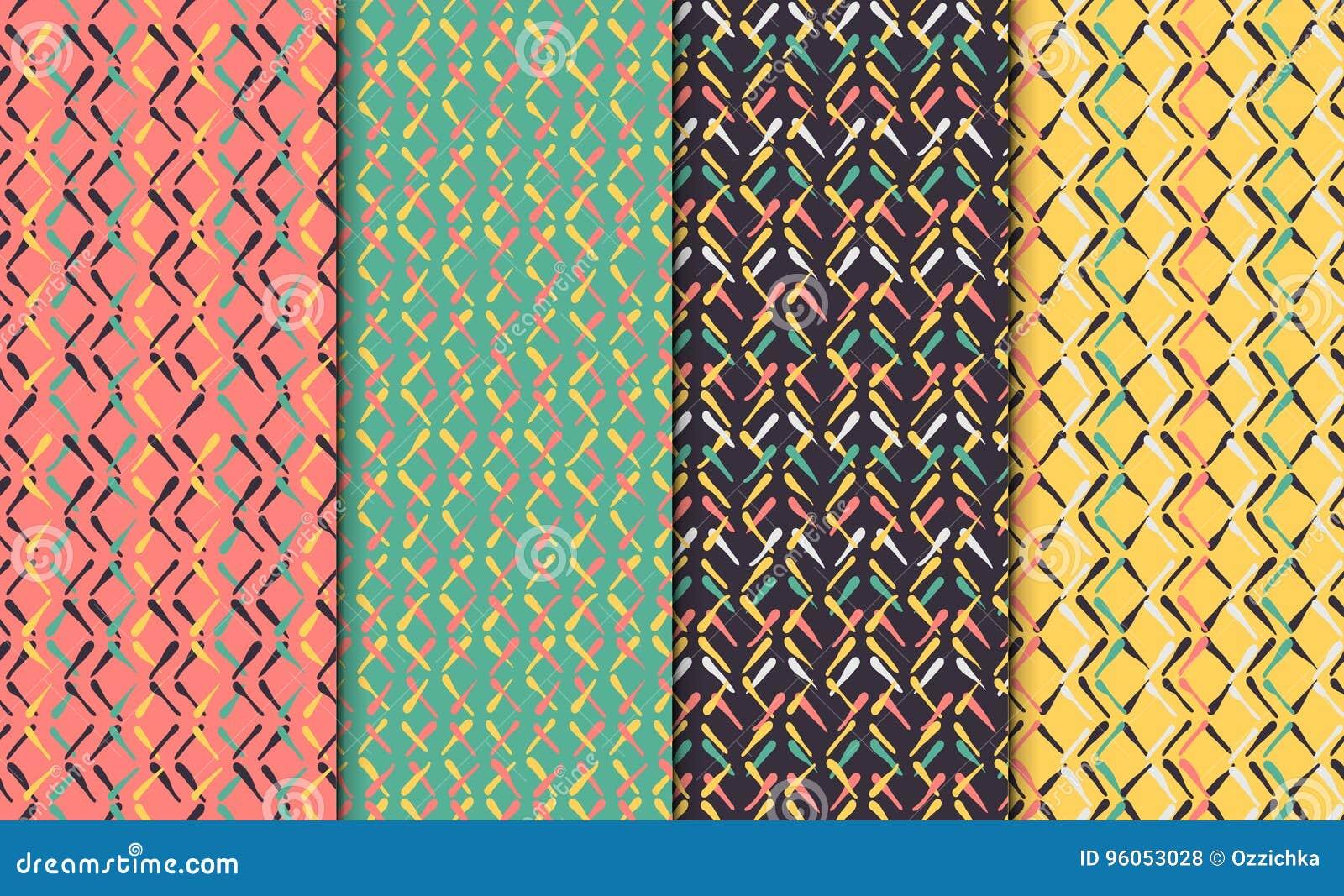 Modèle sans couture abstrait réglé avec les lignes tirées par la main Ensemble d ornements tirés par la main minimalistic colorés