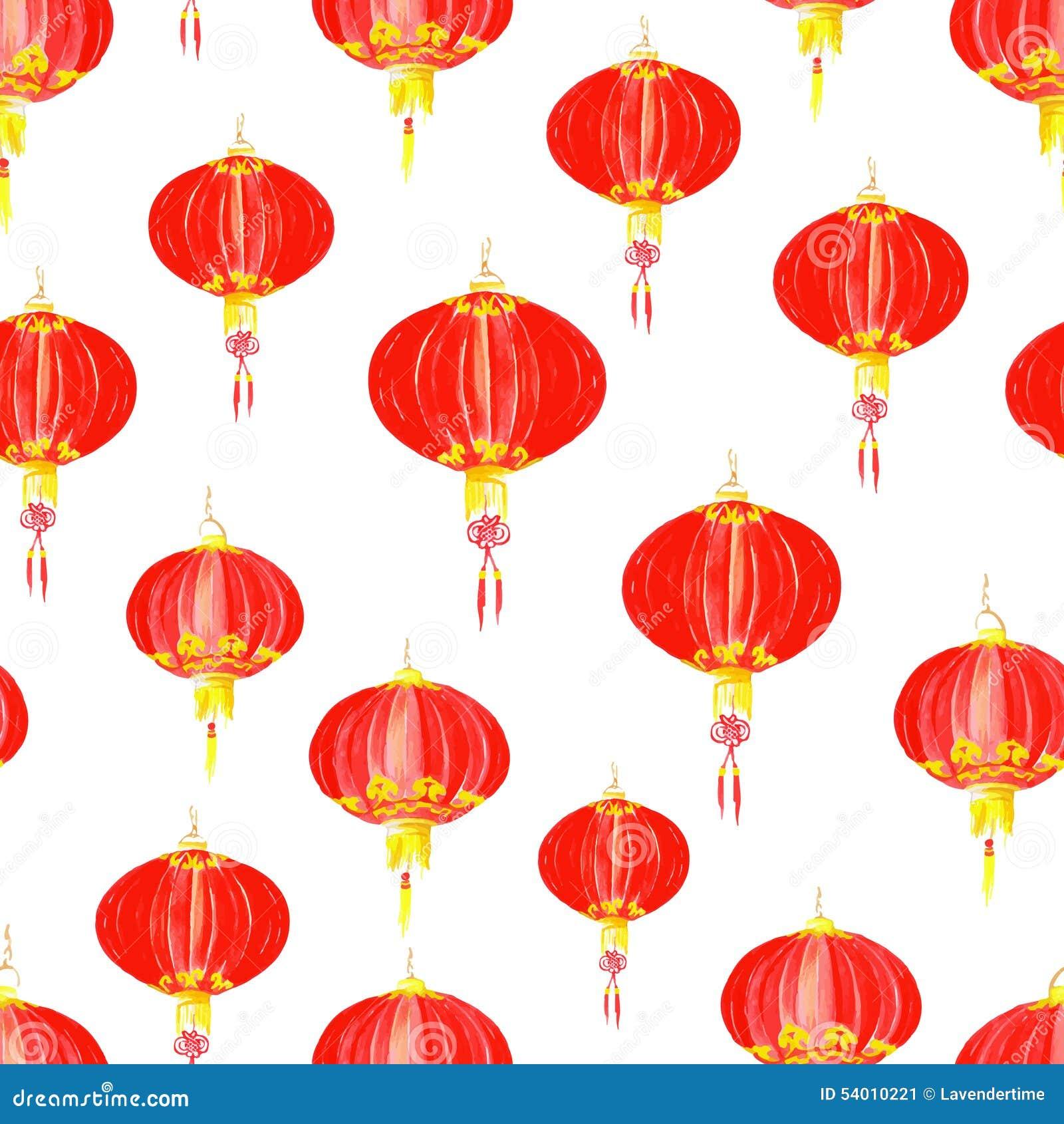 Modèle Sans Couture Asiatique De Vecteur De Lampion