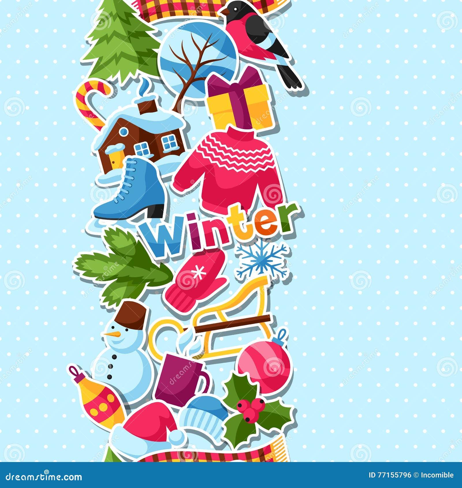 Modèle sans couture avec des autocollants d hiver Articles de vacances de Joyeux Noël, de bonne année et symboles