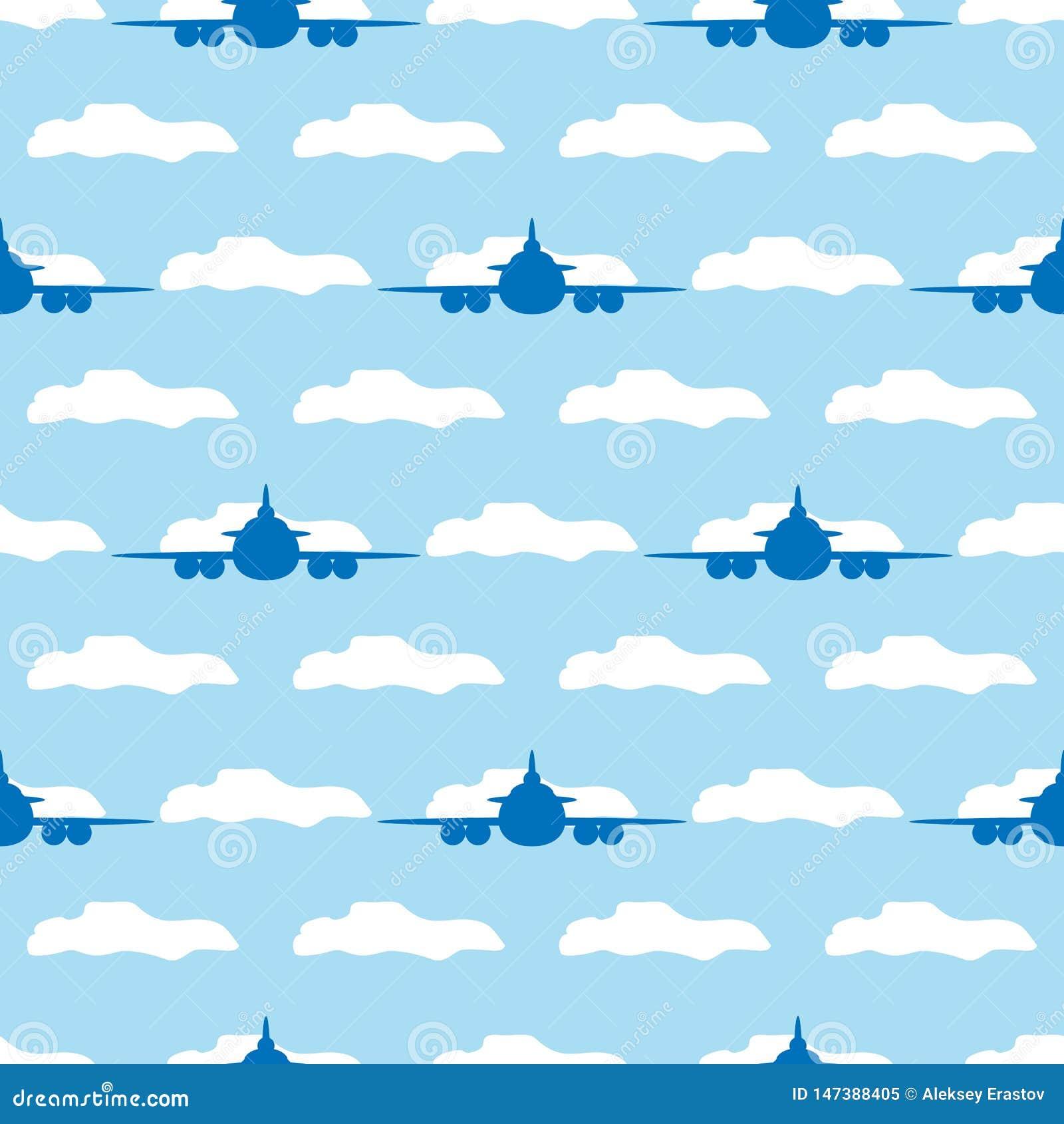 Modèle sans couture avec des avions et des nuages Illustration de vecteur