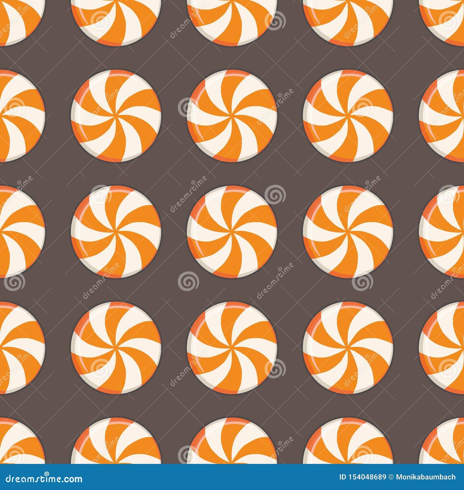 Modèle sans couture avec des baisses traditionnelles tirées de sucrerie de Halloween de rond avec des remous oranges et blancs