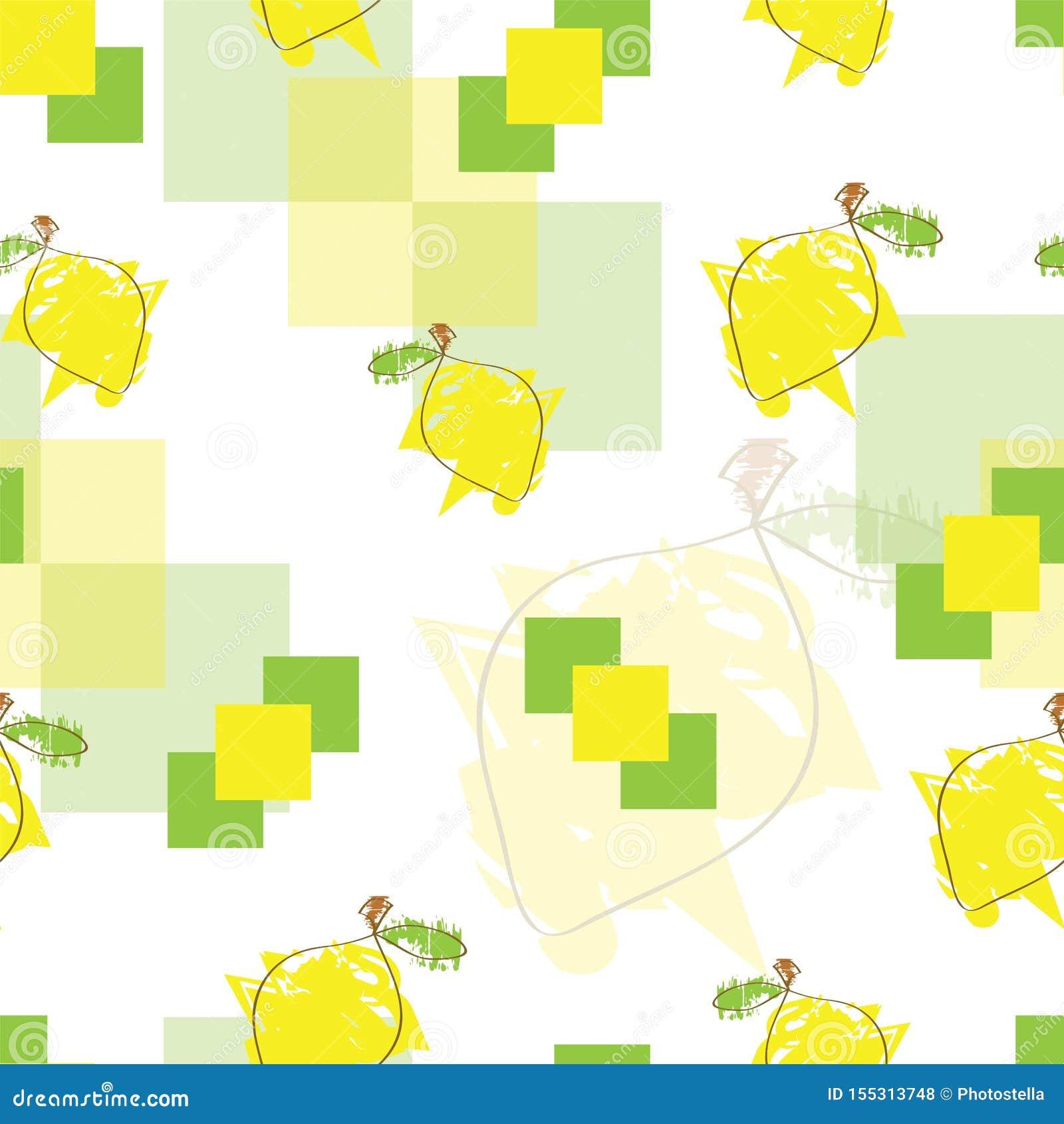 Modèle sans couture avec des citrons et des places abstraites dans des couleurs jaunes et vertes