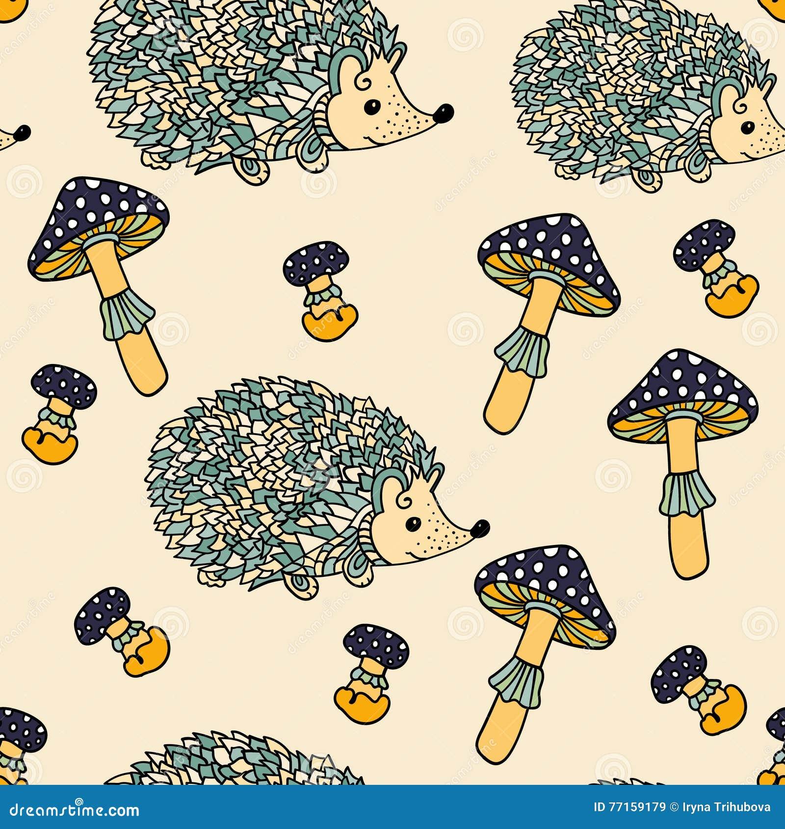 Modèle sans couture avec des hérissons et des champignons