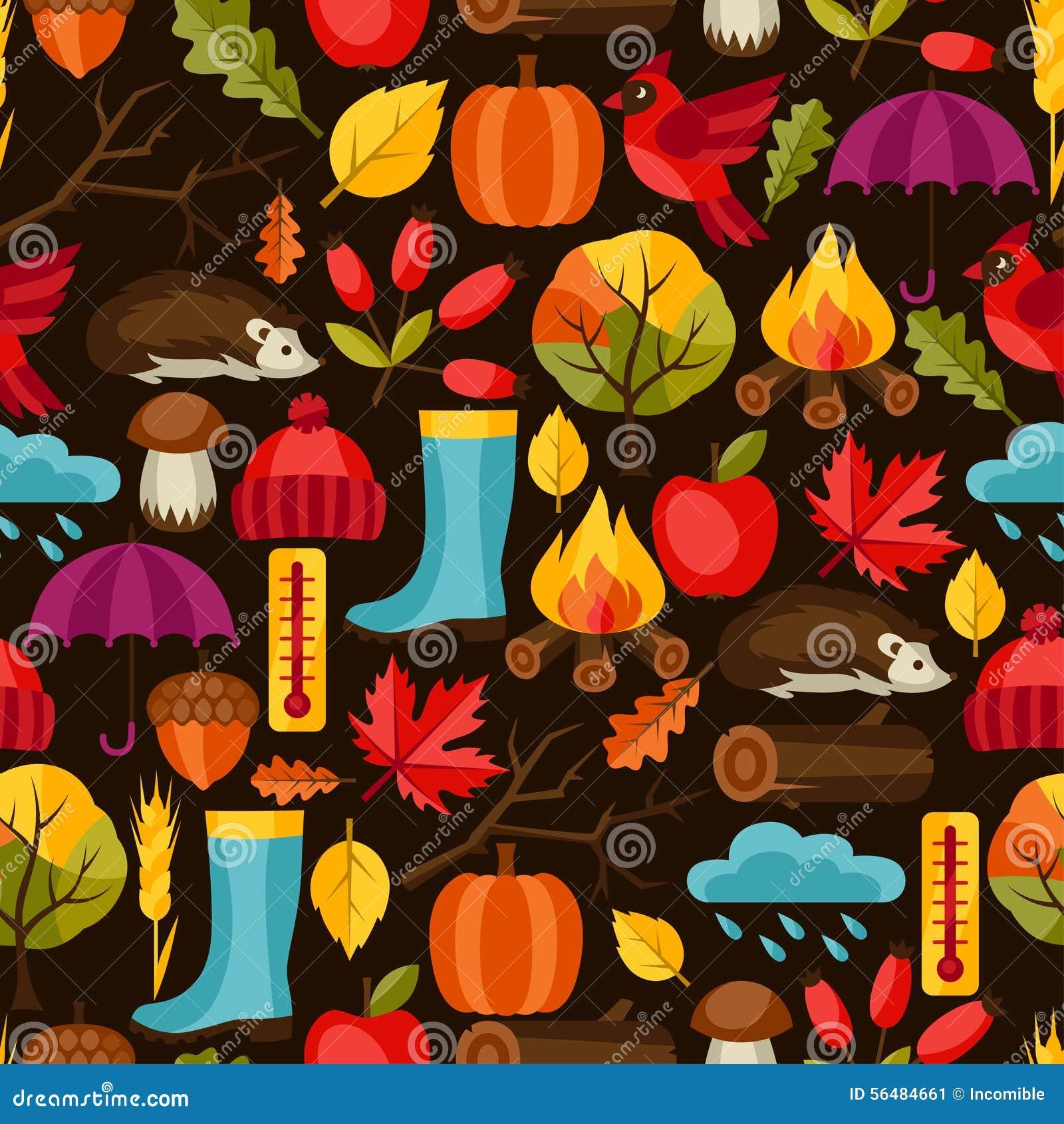 Modèle sans couture avec des icônes et des objets d automne