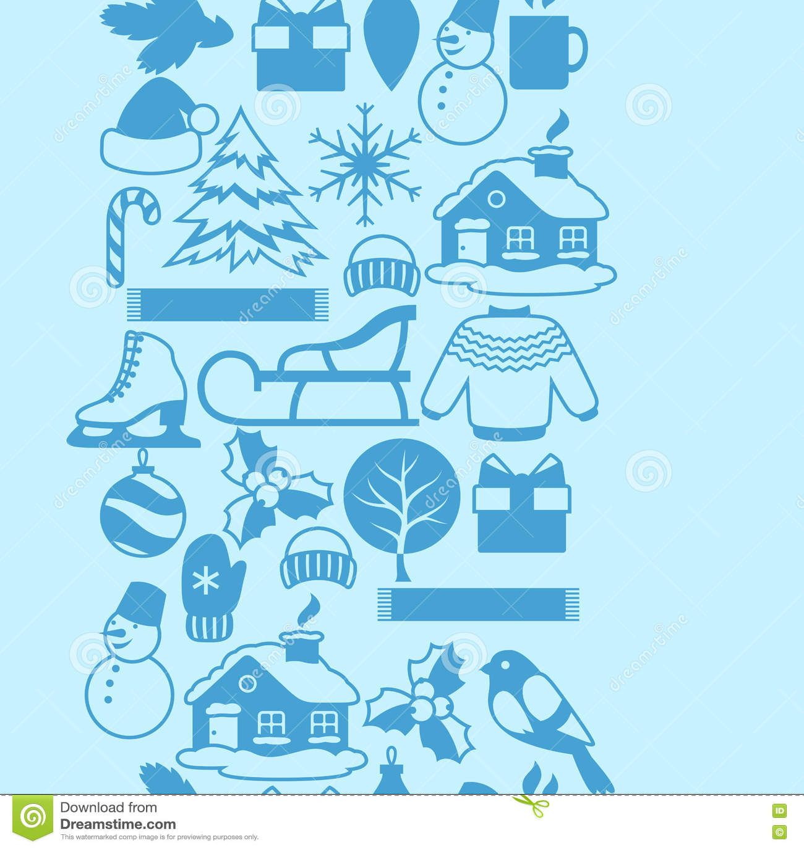 Modèle sans couture avec des objets d hiver Articles de vacances de Joyeux Noël, de bonne année et symboles