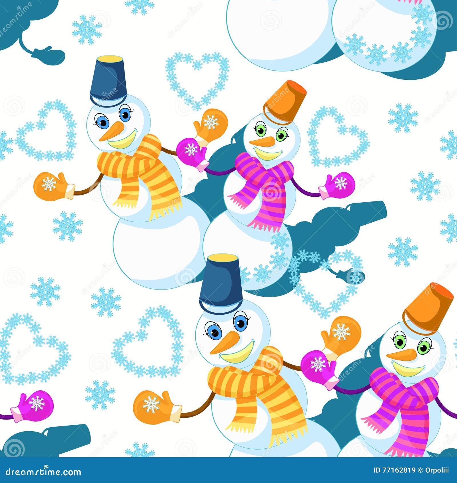 Modèle sans couture avec des quelques bonhomme de neige dans l écharpe, mitaines