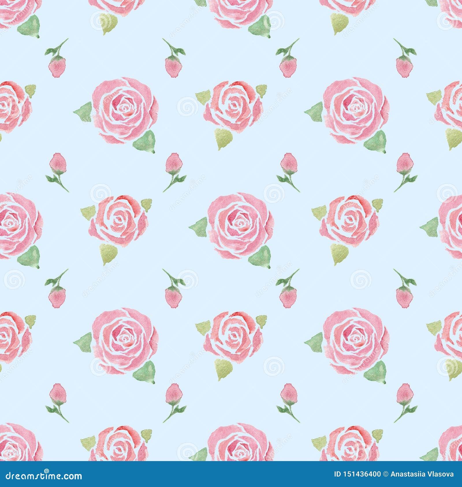 Modèle sans couture avec des roses sur un bleu
