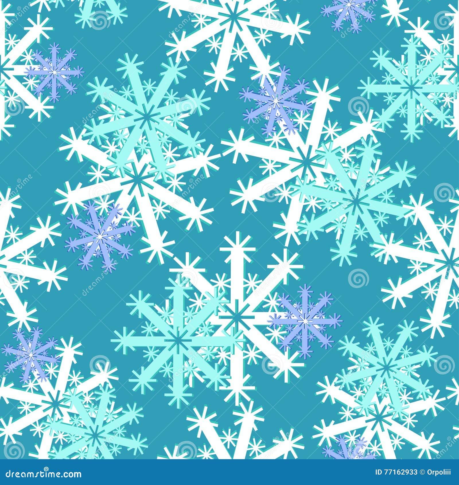 Modèle sans couture avec différents flocons de neige pourpres sur le bleu