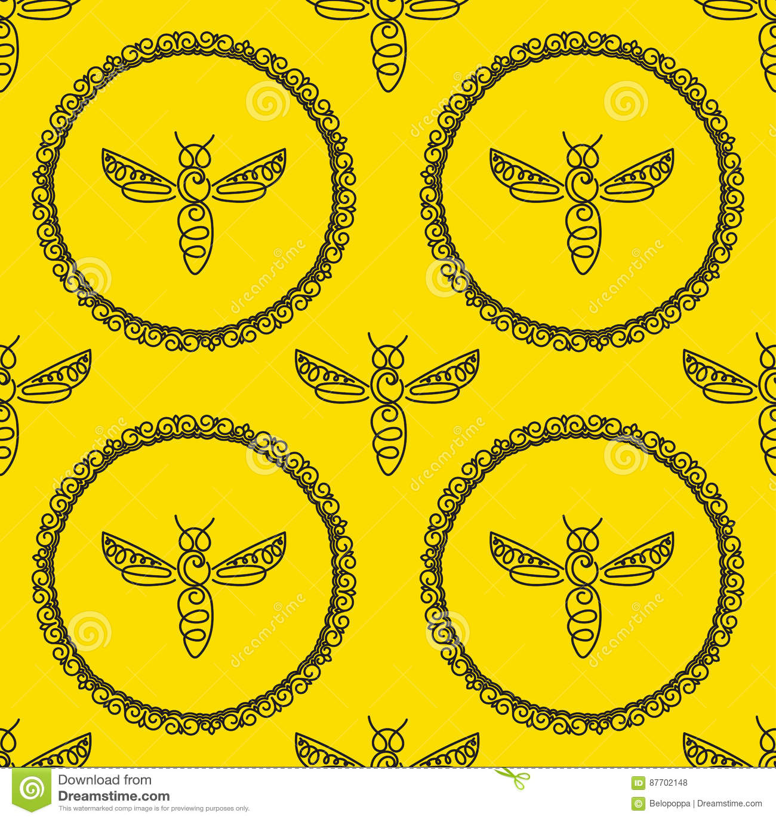 Modèle sans couture avec l abeille