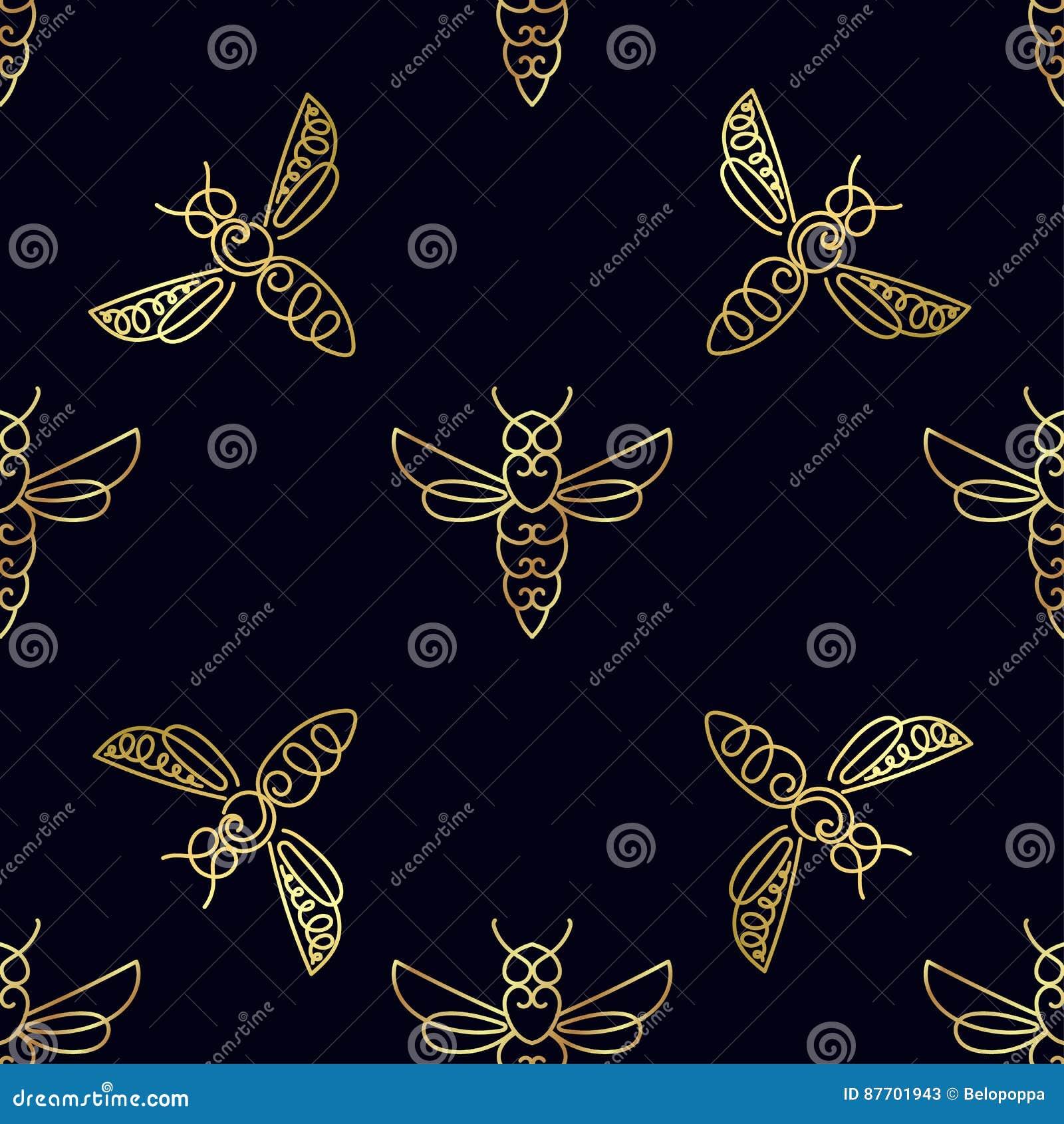 Modèle sans couture avec l abeille d or