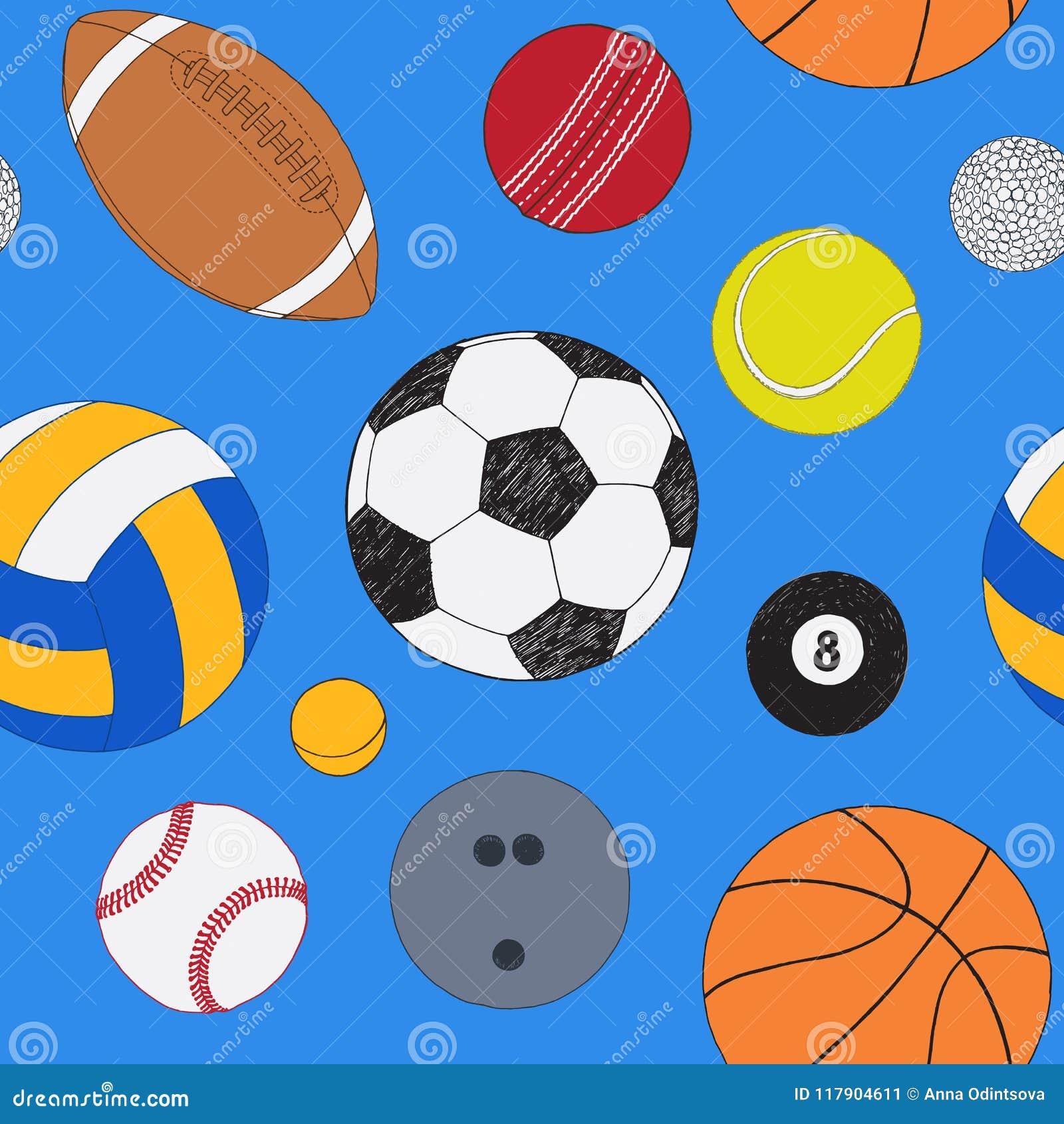 Modèle sans couture avec l ensemble de boules de sport Croquis coloré tiré par la main de vecteur Fond pour une carte d invitatio