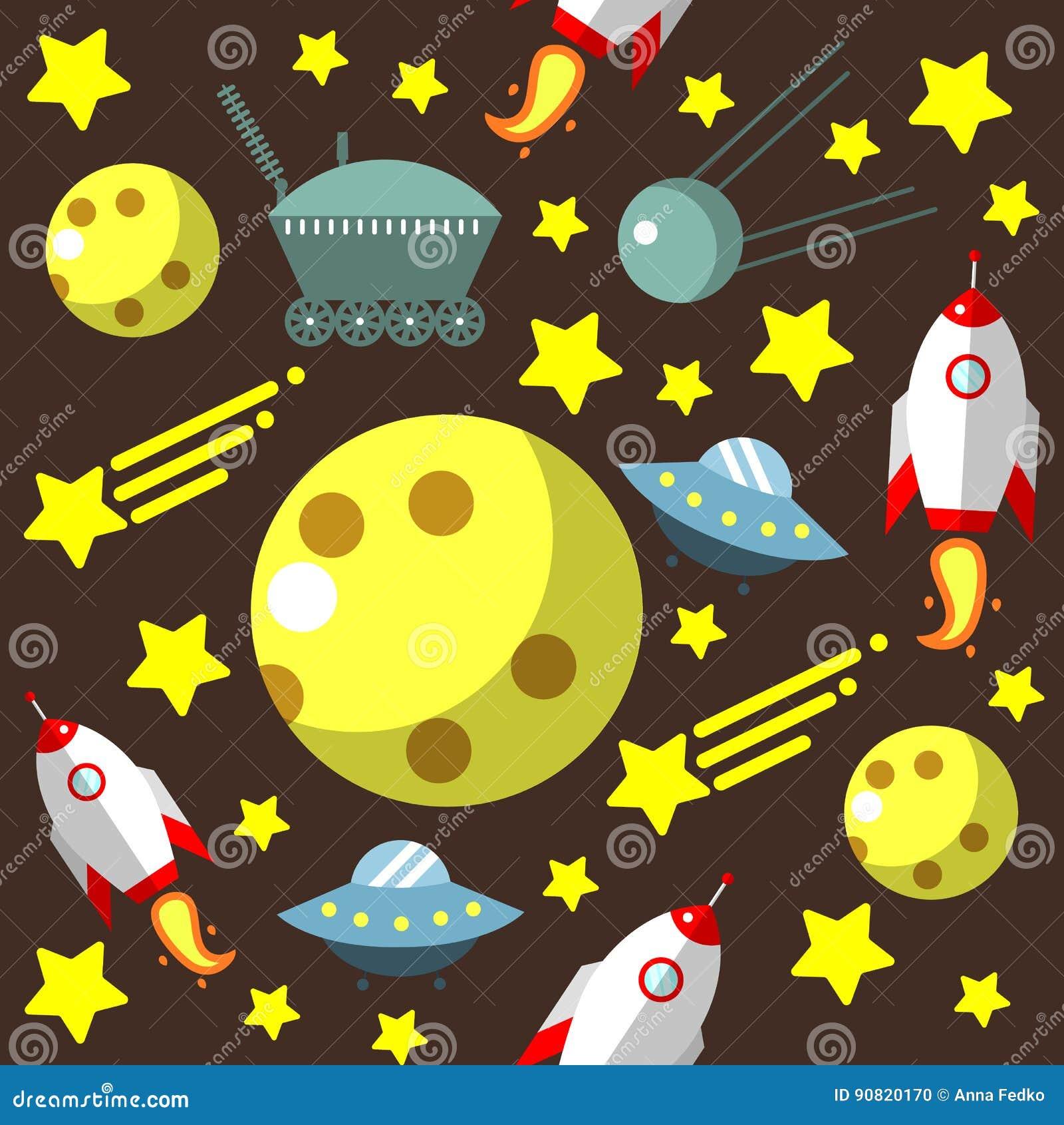 Modèle sans couture avec l espace, fusées, comète, étoiles et lune et UFO
