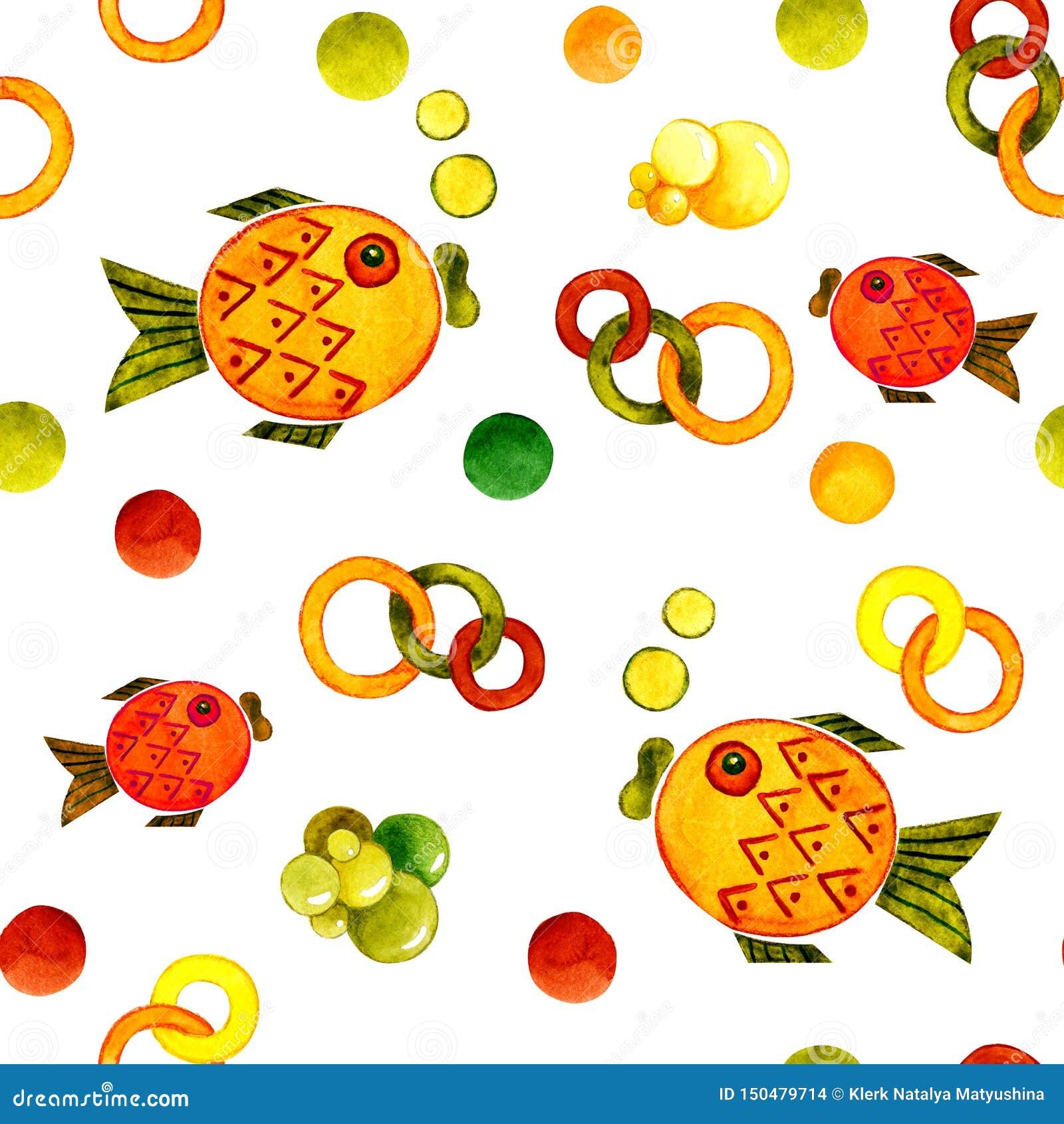 Modèle sans couture avec l image d un poisson Illustration de bande dessinée d aquarelle pour la conception des copies, autocolla