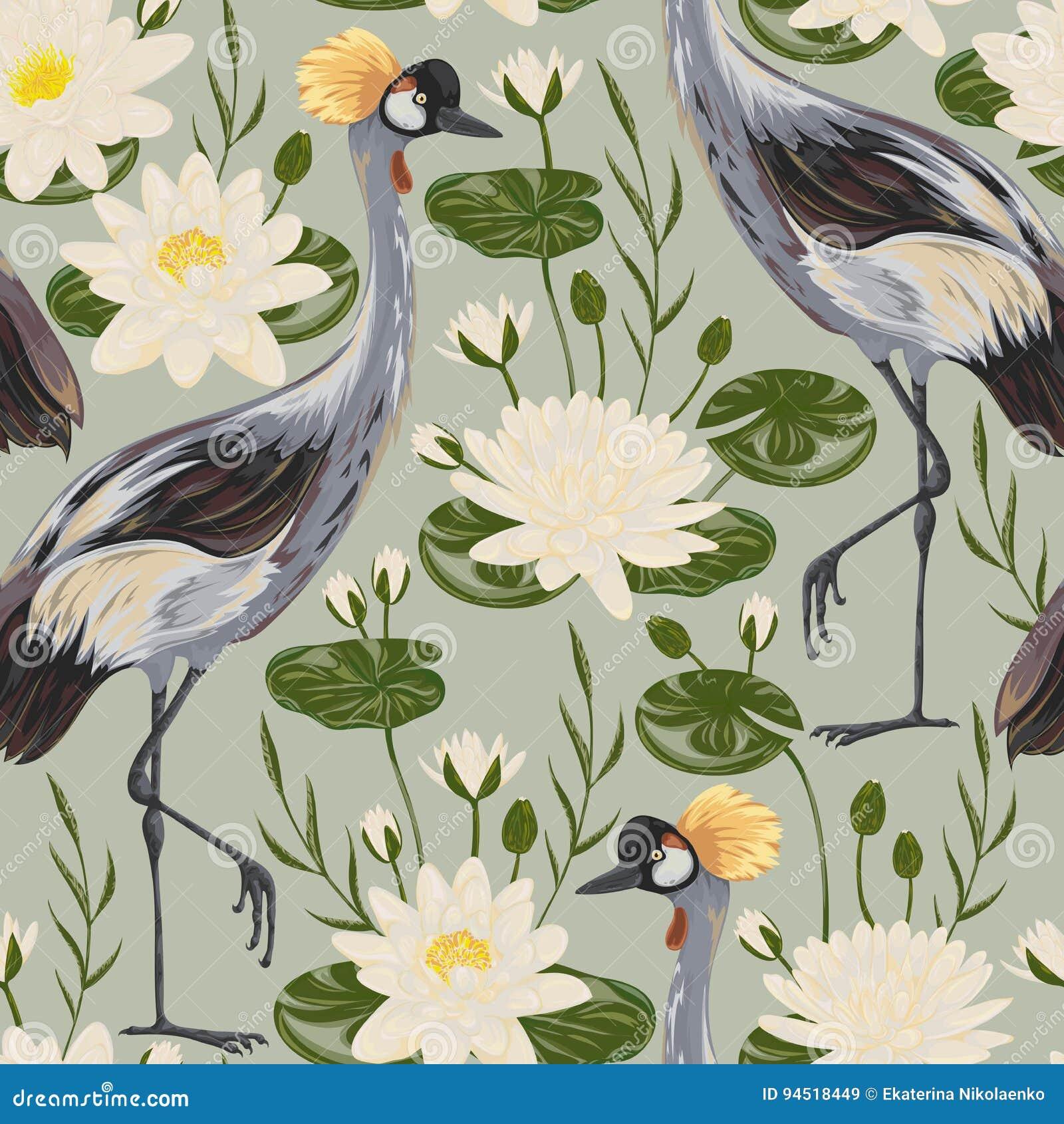 Modèle sans couture avec l oiseau et le nénuphar de grue motif oriental