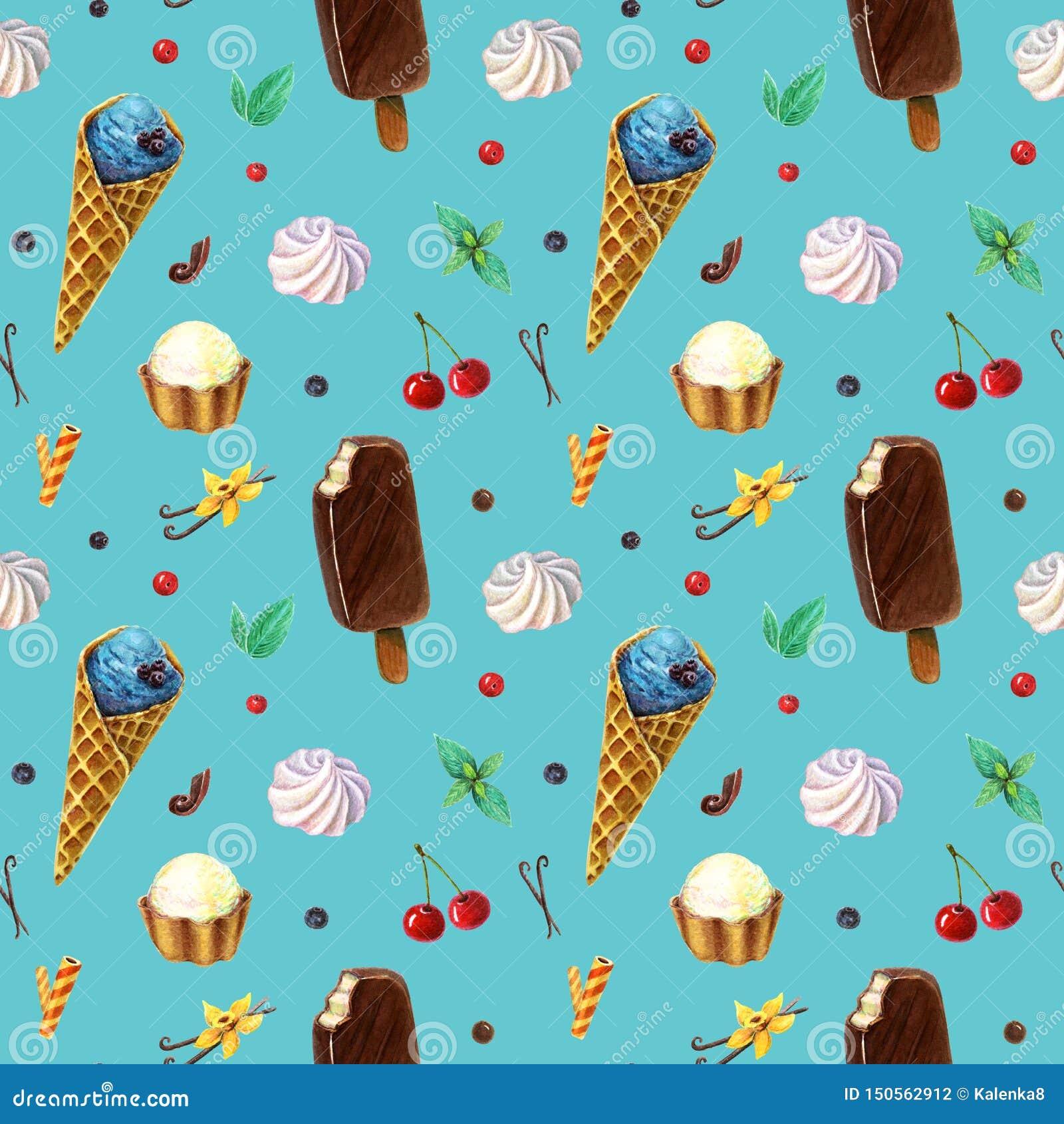 Modèle sans couture avec la crème glacée de fruit d aquarelle sur le bâton et cornet de crème glacée d isolement sur le contexte