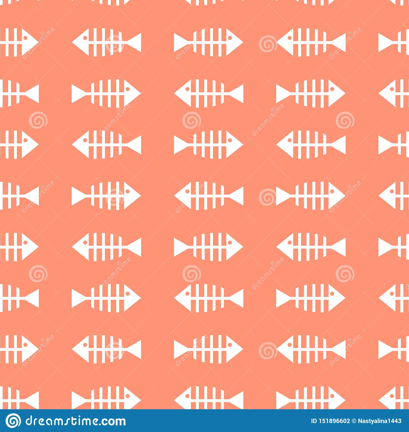 Modèle sans couture avec la silhouette blanche des os de poissons sur le fond rose