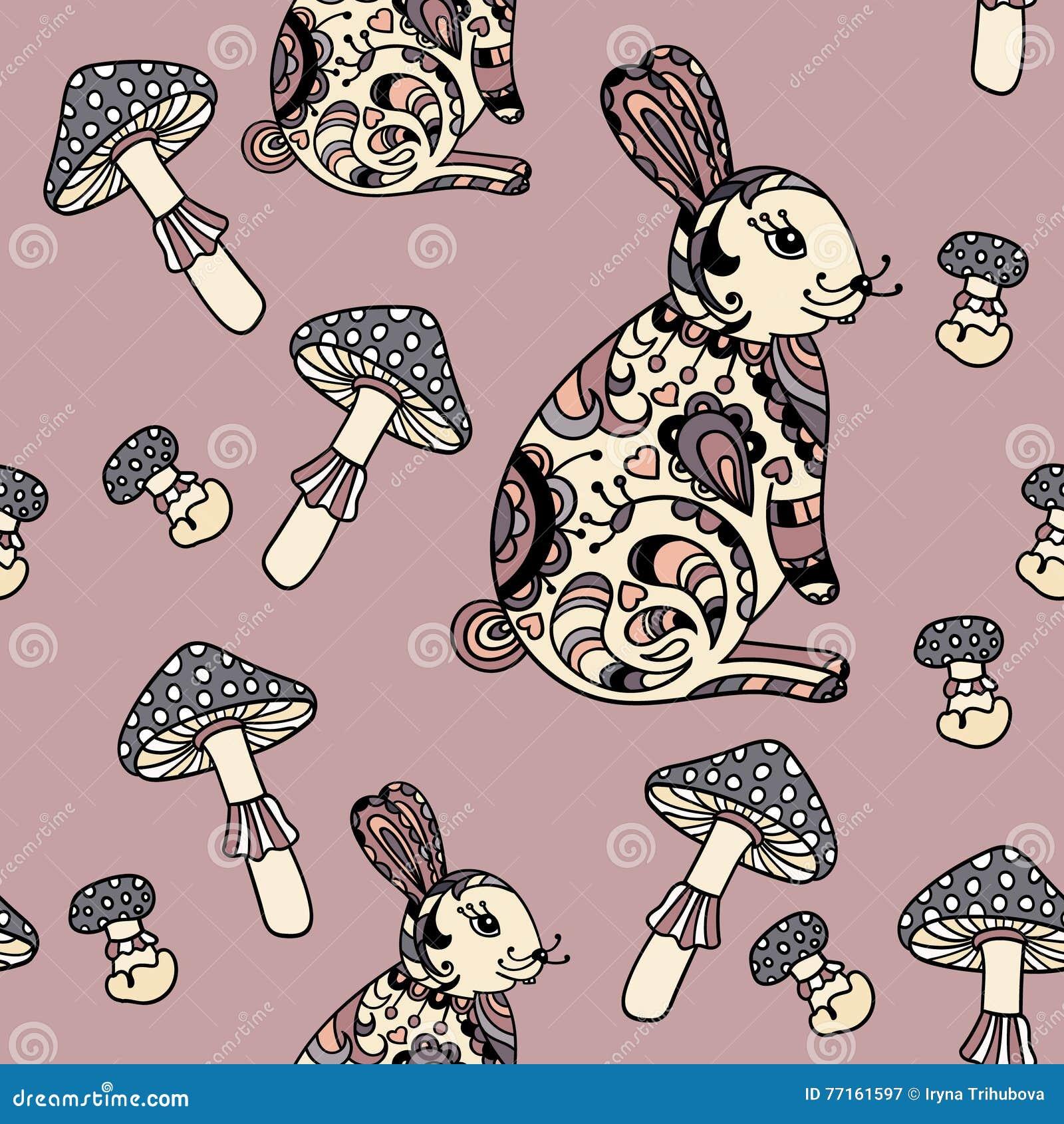 Modèle sans couture avec le champignon et le lapin