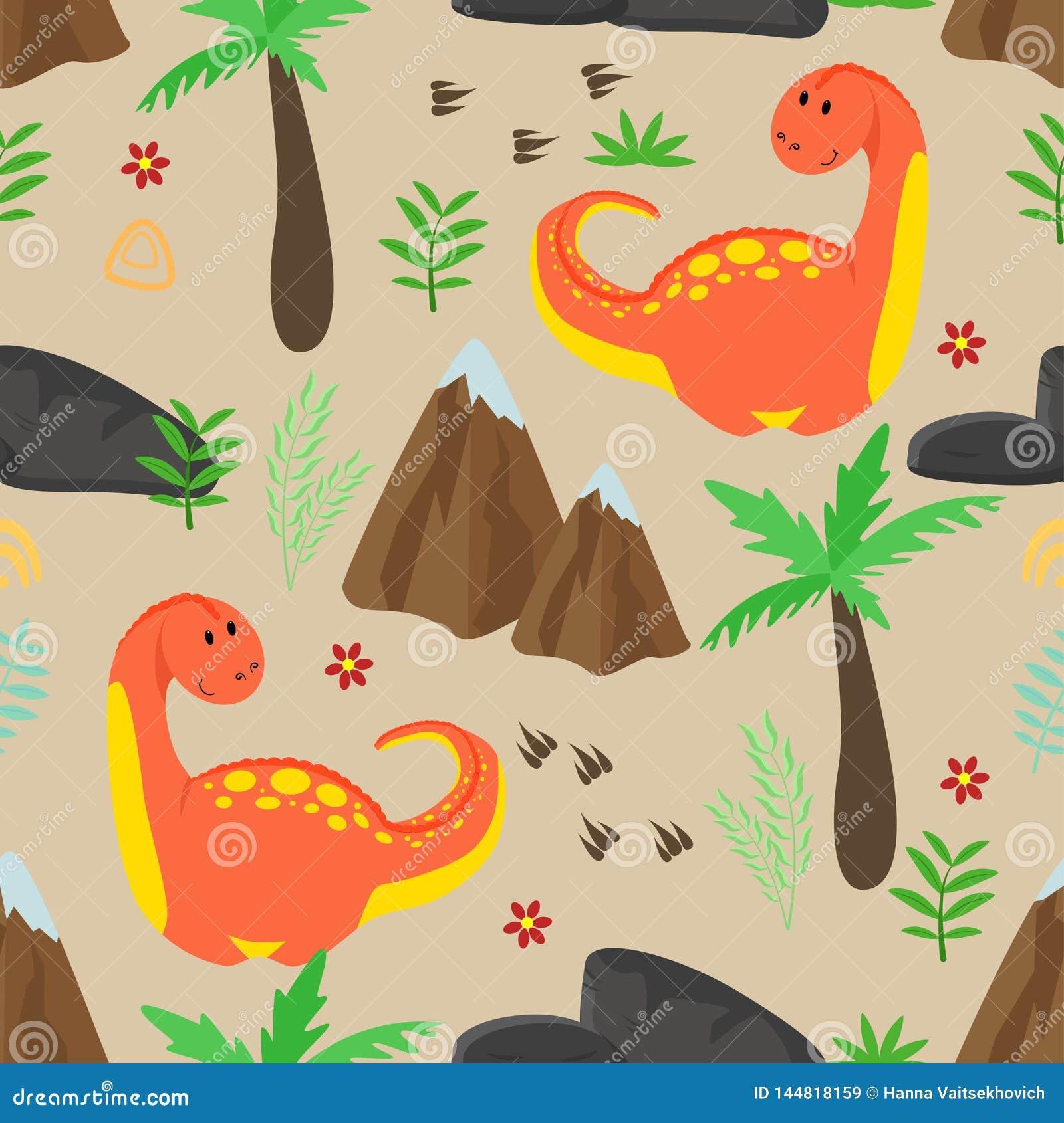 Modèle sans couture avec le dinosaure et les montagnes rouges mignons - illustration de vecteur, ENV
